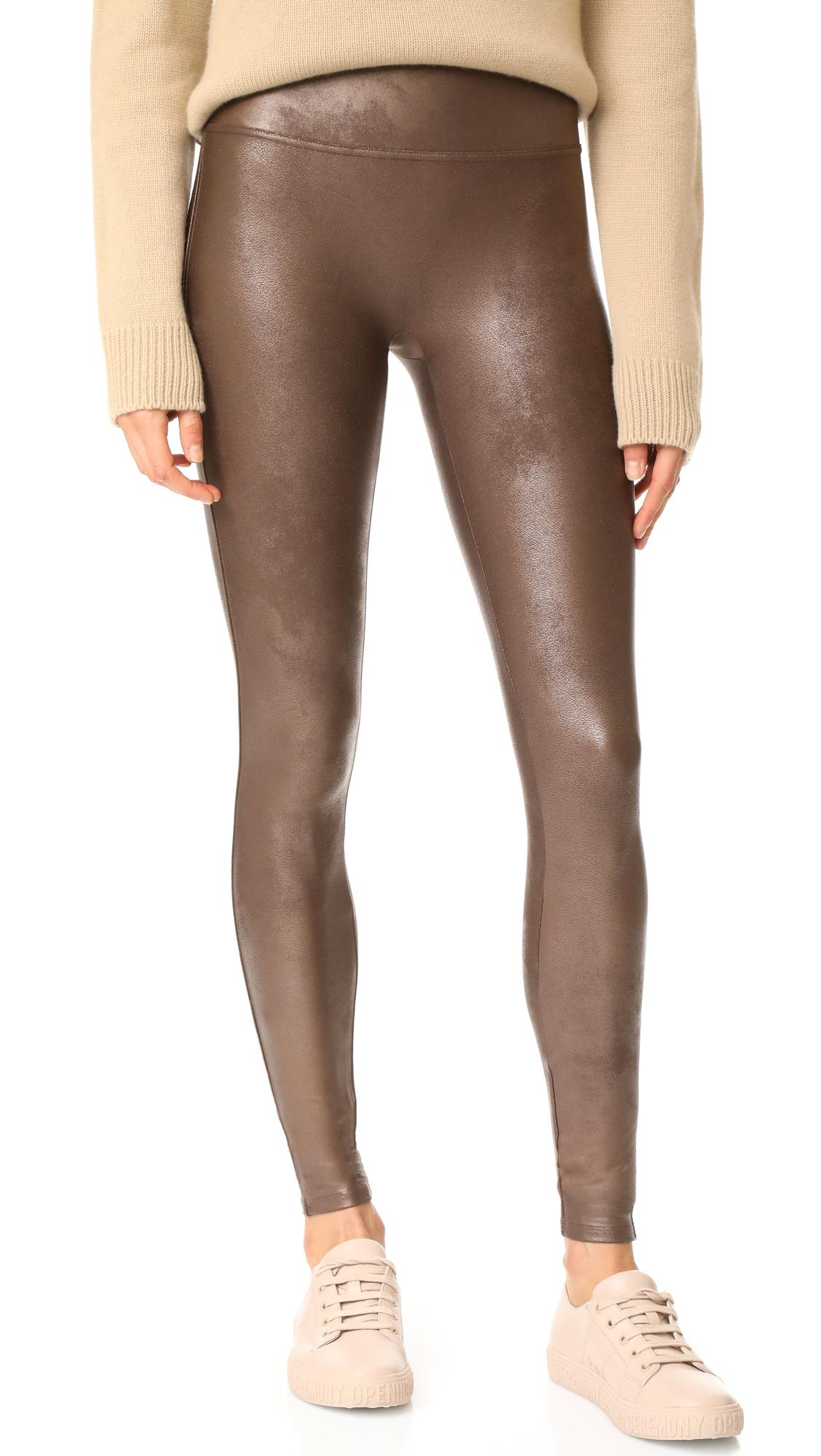 Spanx Faux Leather Leggings Bronze Metal NWT
