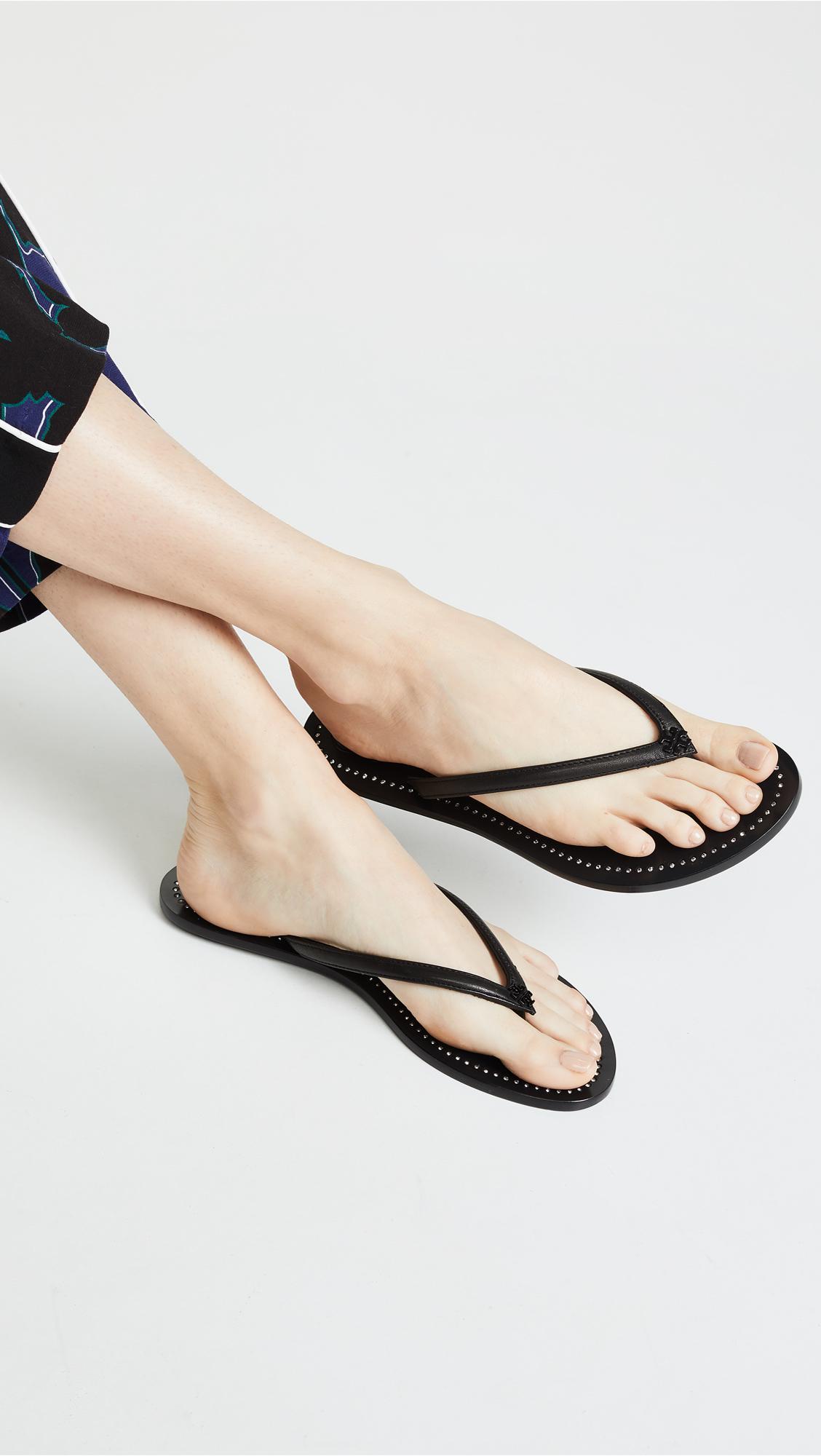 6c9b4eb077e0 Tory Burch - Black Liana Thong Sandals - Lyst. View fullscreen