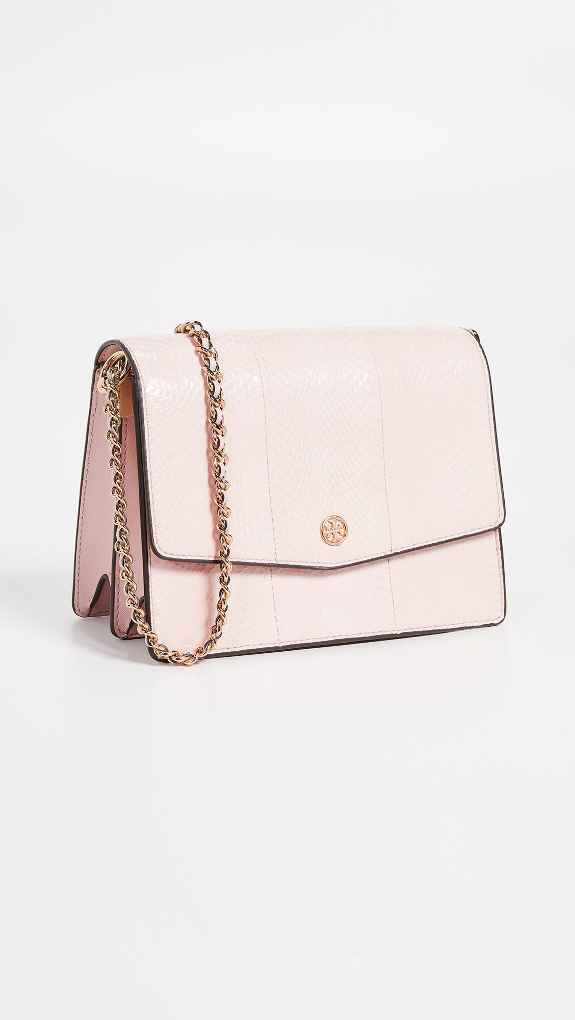252166ccdfd6 Lyst - Tory Burch Robinson Exotic Convertible Shoulder Bag in Pink