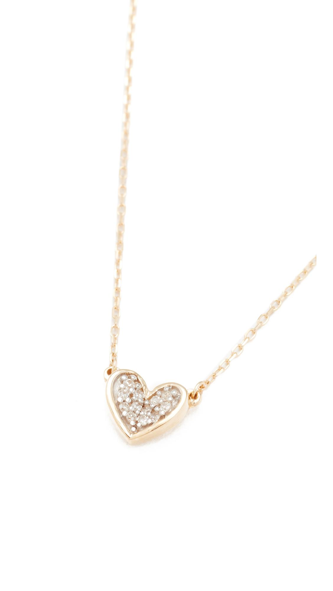 Adina Reyter Super Tiny Pave Folded Heart Necklace in Gold (Metallic)