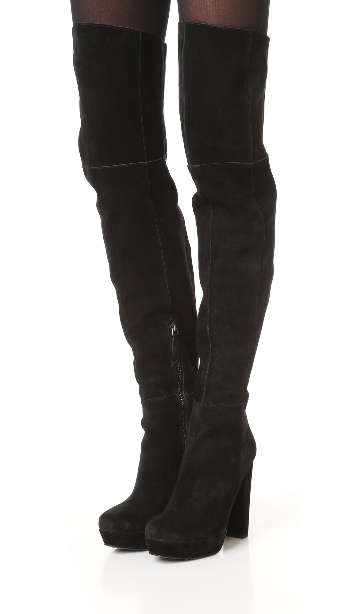Alice + Olivia Suede Halle Over The Knee Boots in Black