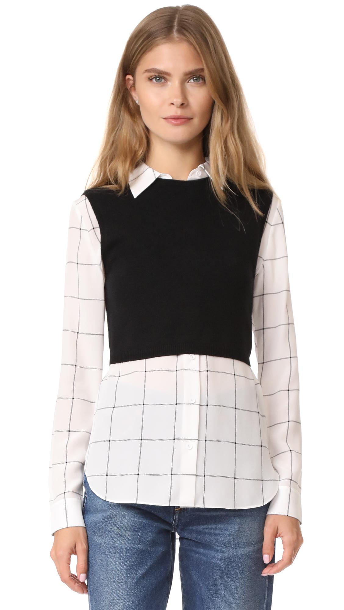 Alice olivia lucinda sweater vest combo shirt in black for Sweater and dress shirt combo