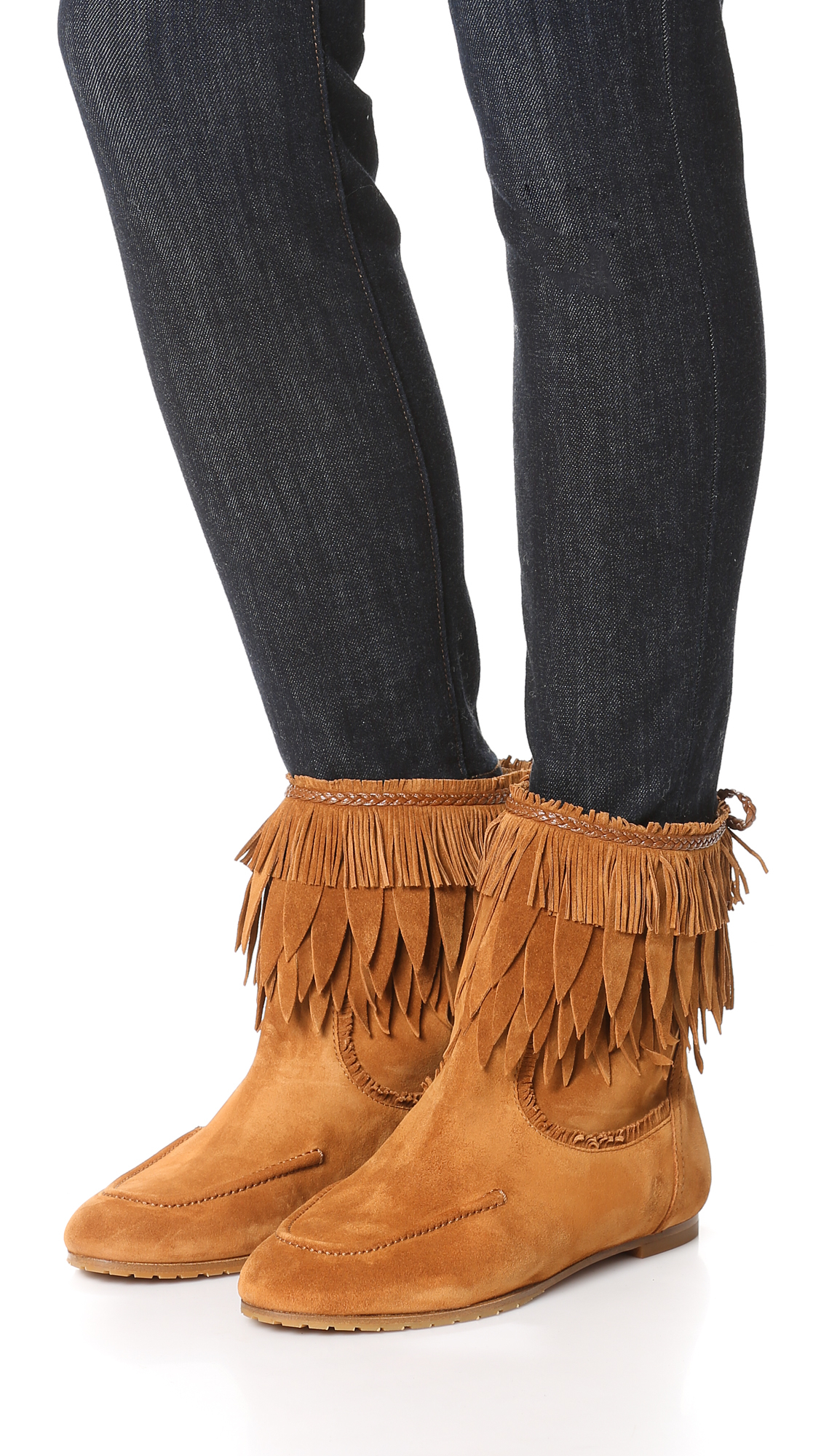 Aquazzura Tiger Lily Fringe Suede Bootie in Cognac (Brown)