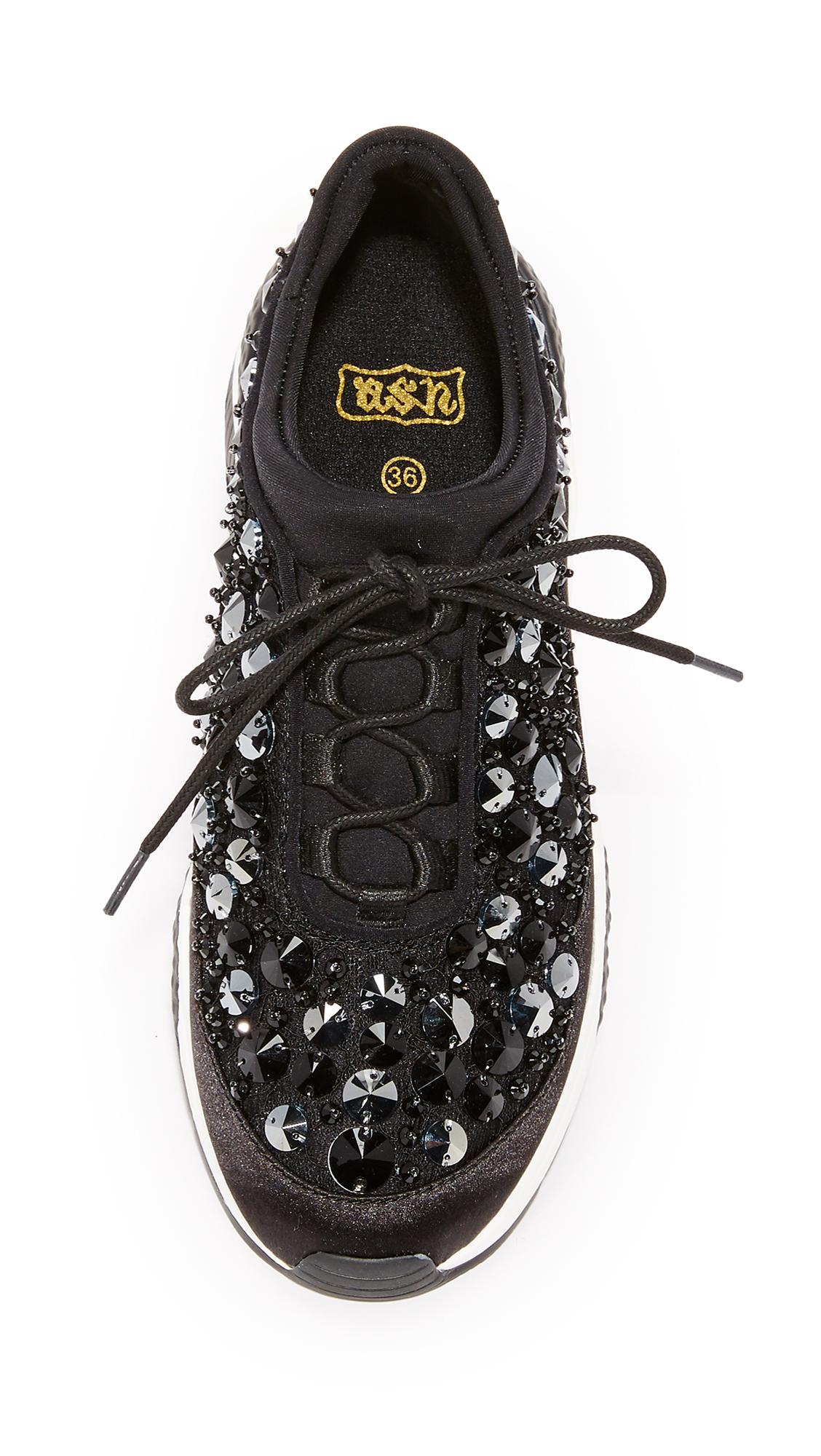 Ash Lace Muse Beads Sneakers in Black