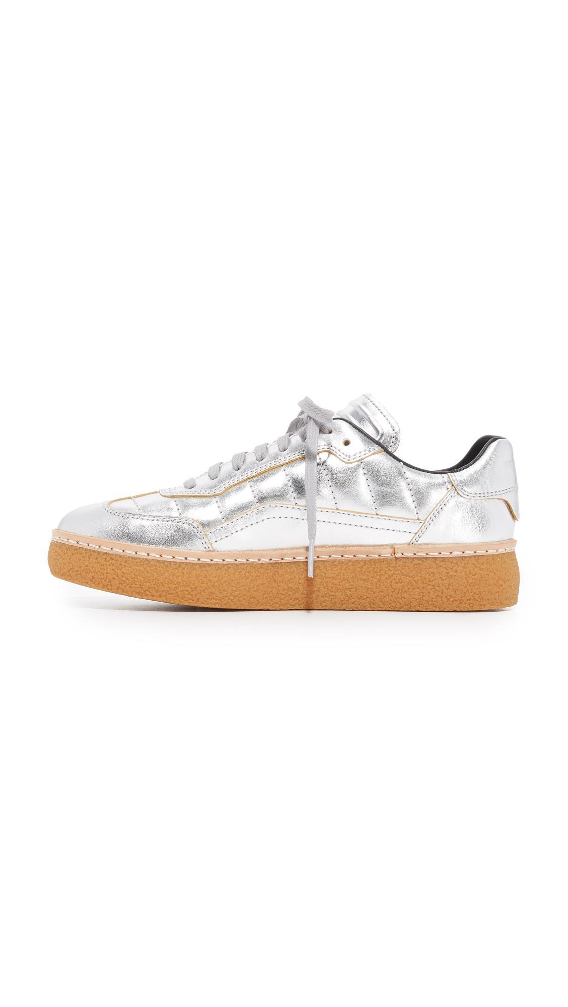 Alexander Wang Leather Eden Platform Sneakers in Silver (Metallic)