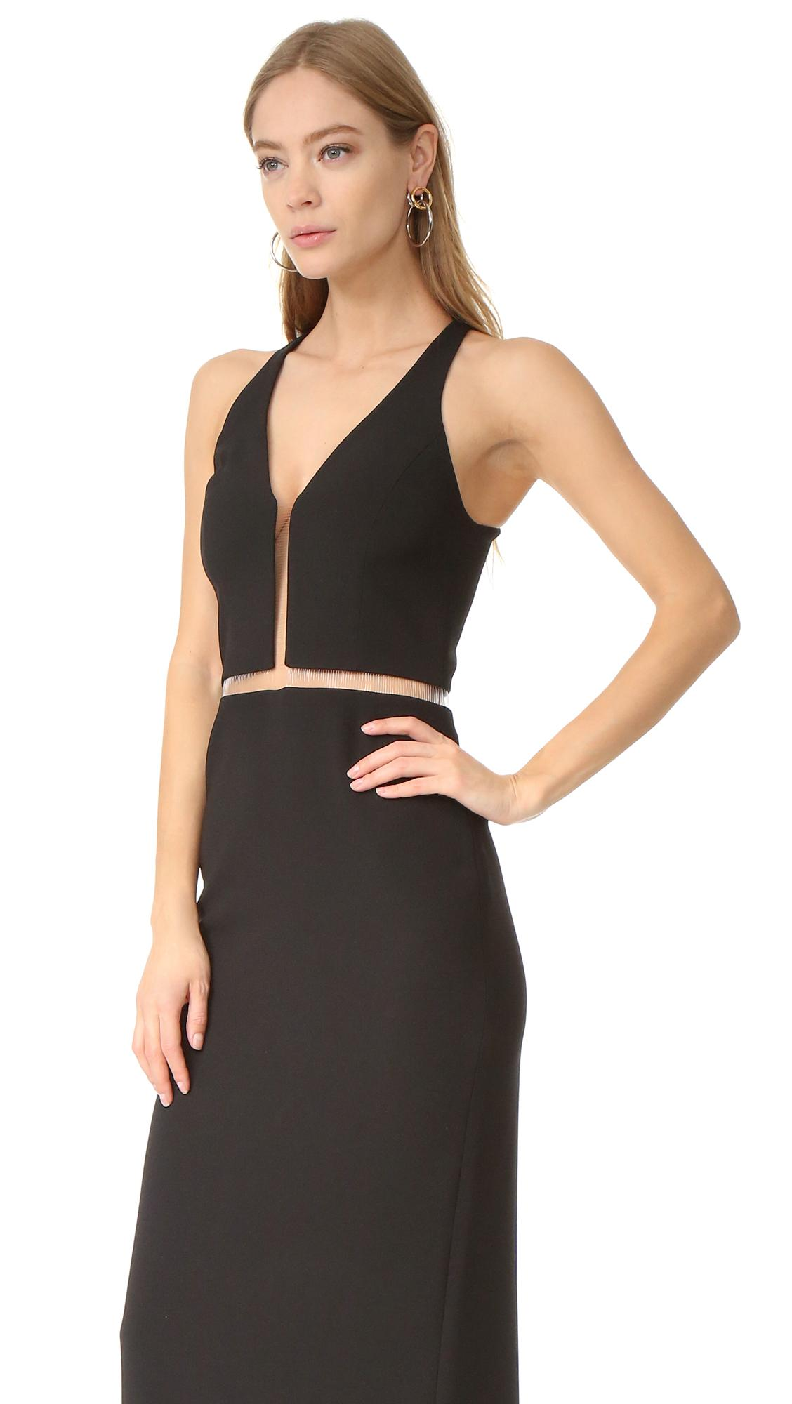 Lyst Alexander Wang V Neck Gown With Fishing Line Detail