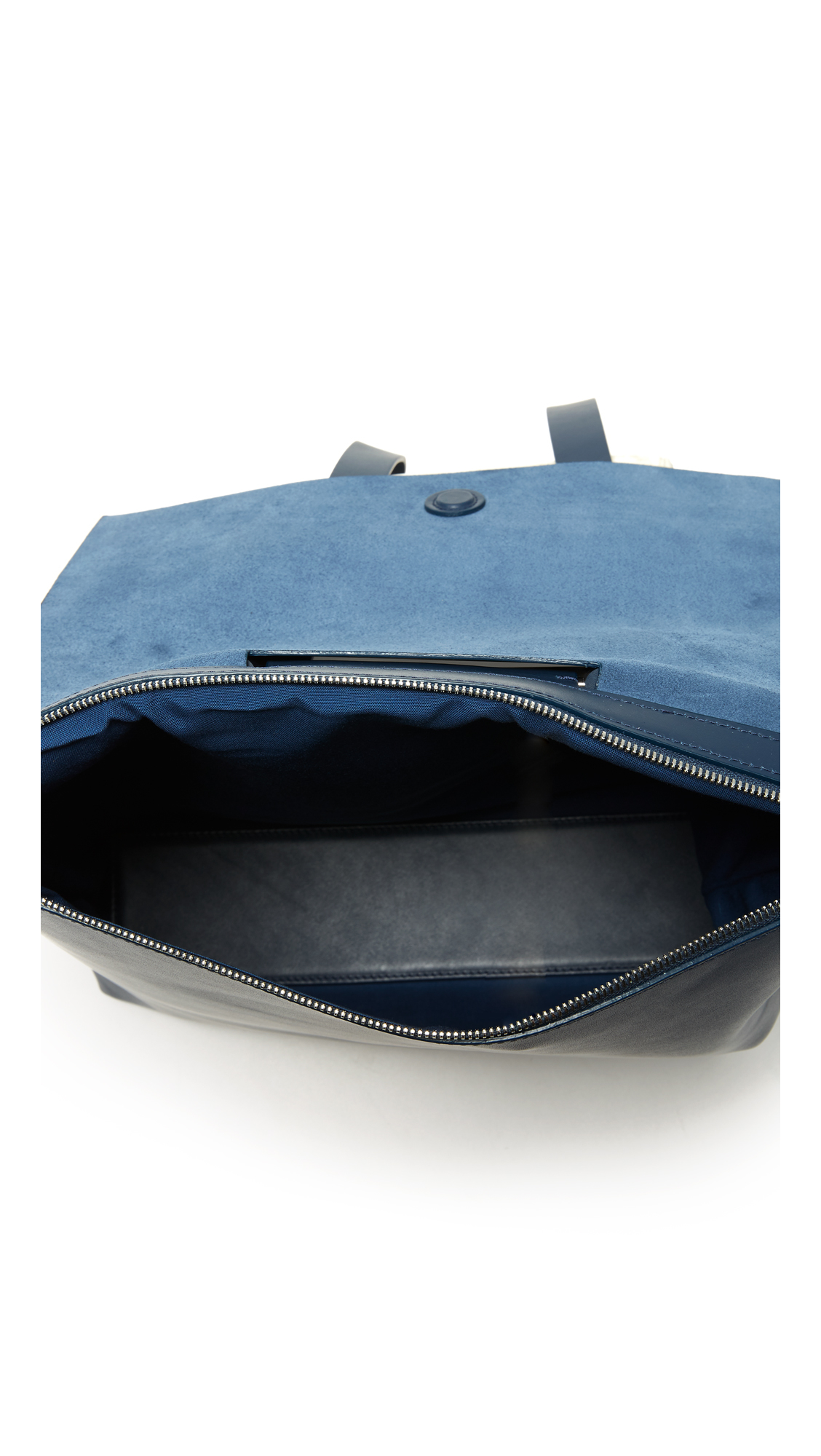 Building Block Leather Backpack in Navy (Blue)