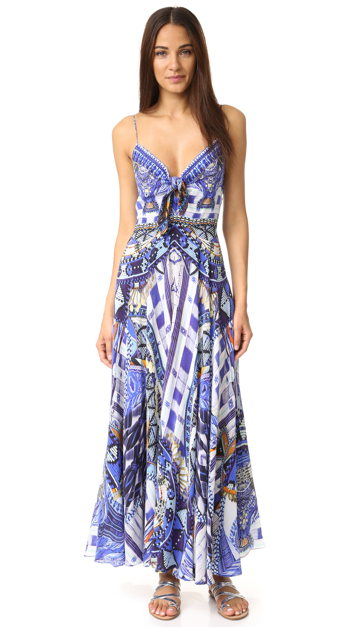 Lyst Camilla Rhythem Amp Blues Long Dress With Tie Front