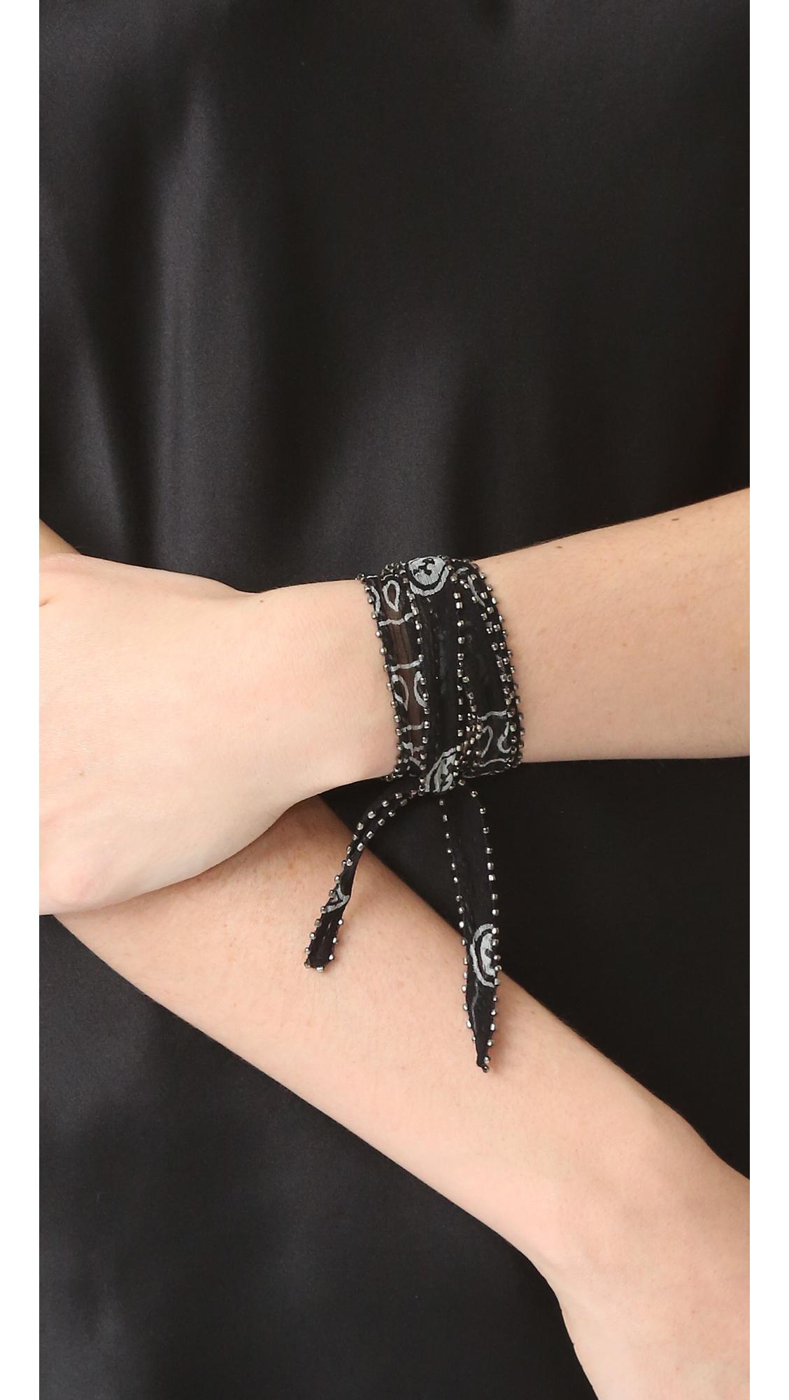 Chan Luu Multi Way Chiffon Embroidered Wrap in Black