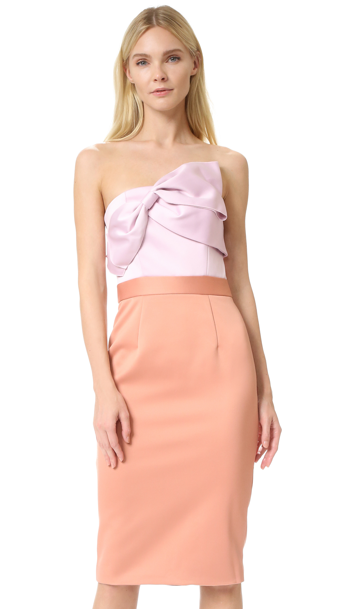 Cynthia rowley Strapless Bow Dress in Pink - Lyst