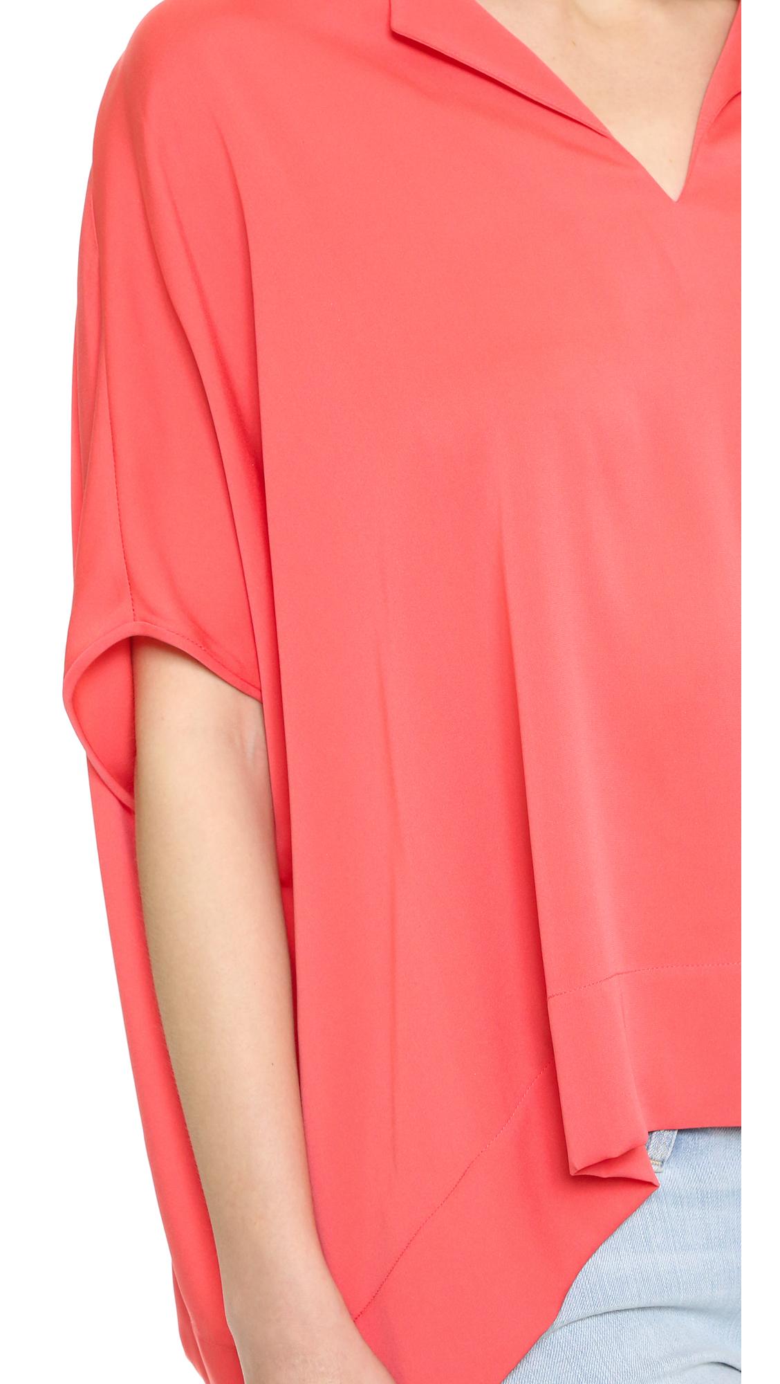 Diane von Furstenberg Kora Stretch-silk Top in Coral (Pink)
