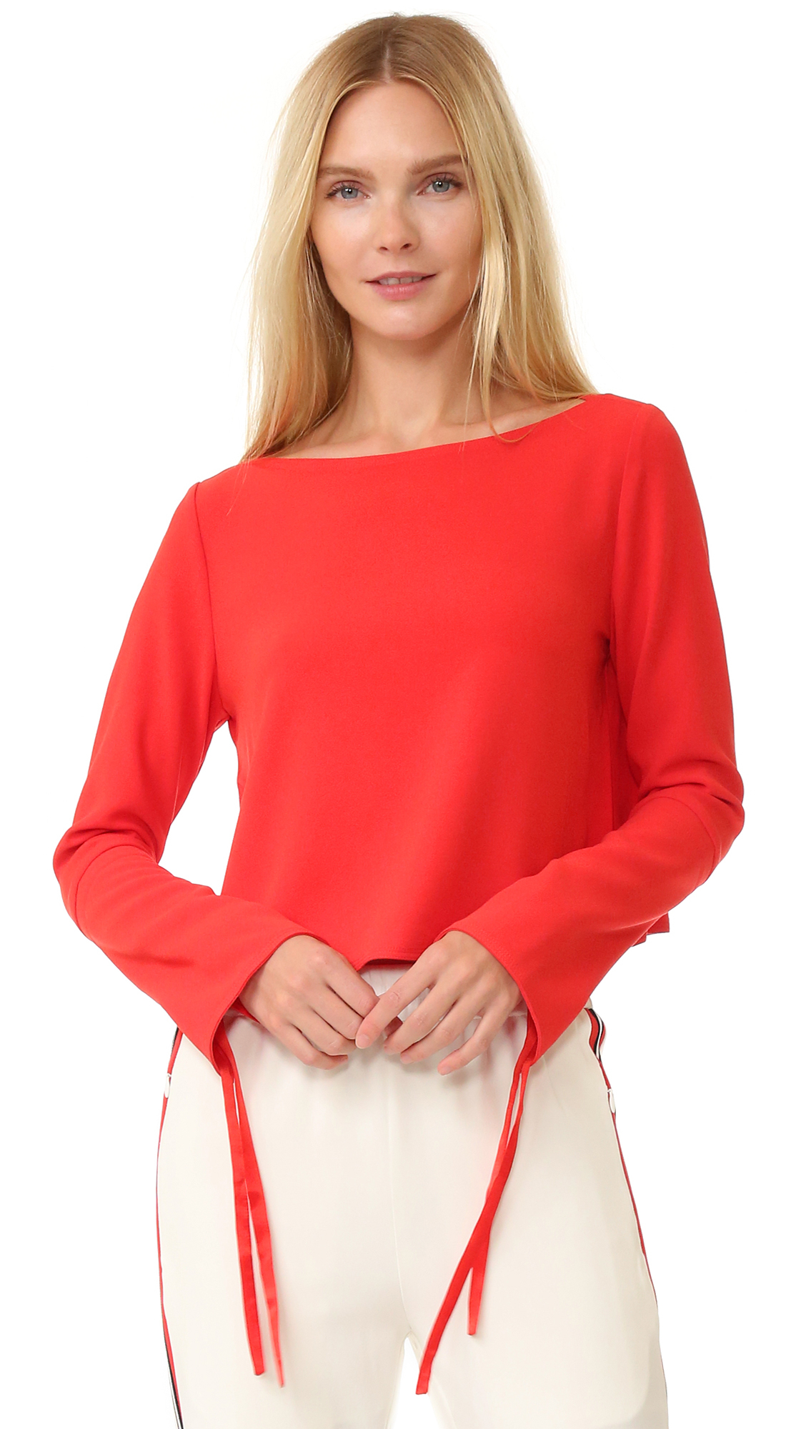 Edition10 long sleeve top lyst for Adam lippes women s long sleeve vee t shirt