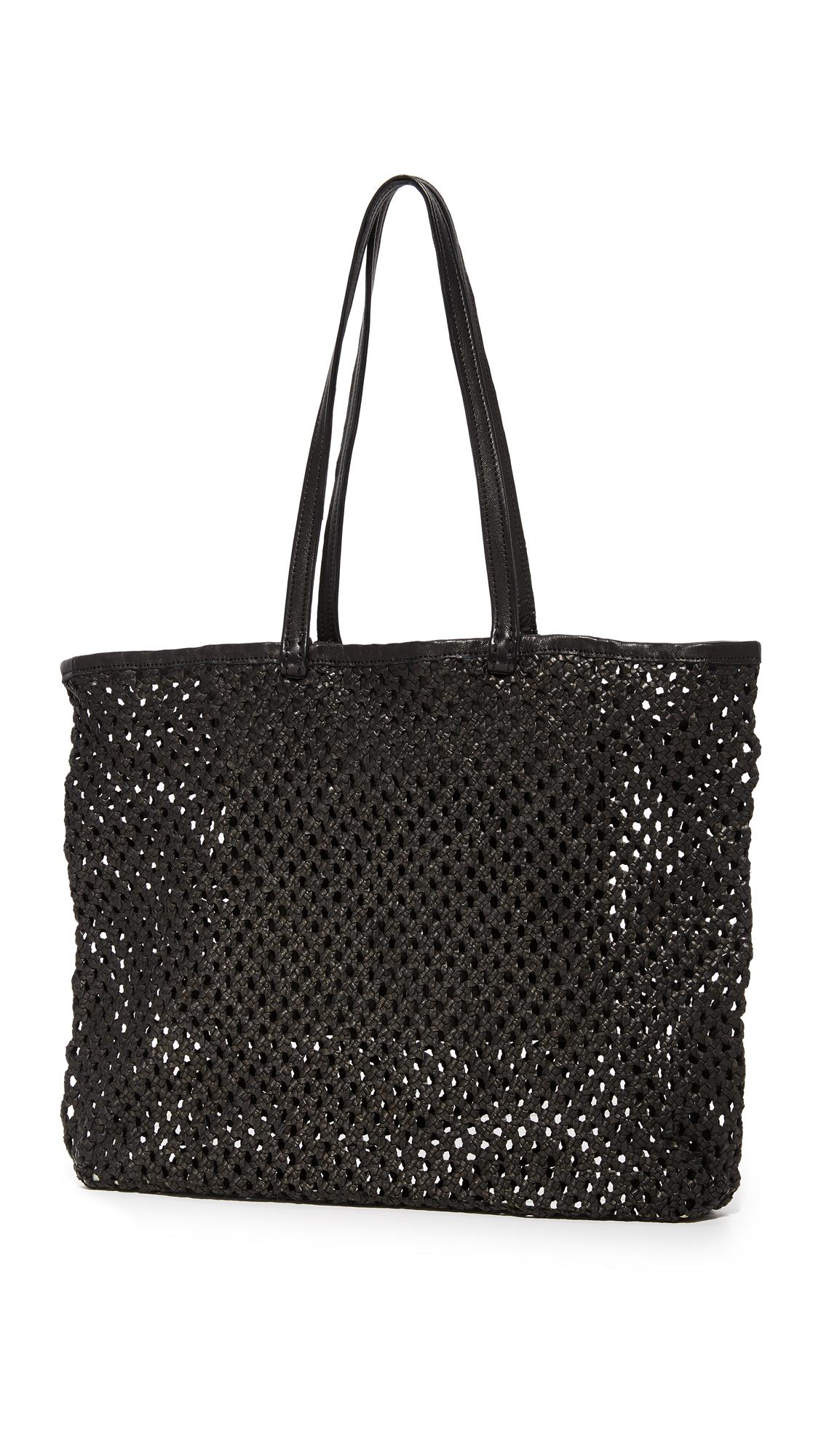 En Shalla Leather Woven Tote in Black