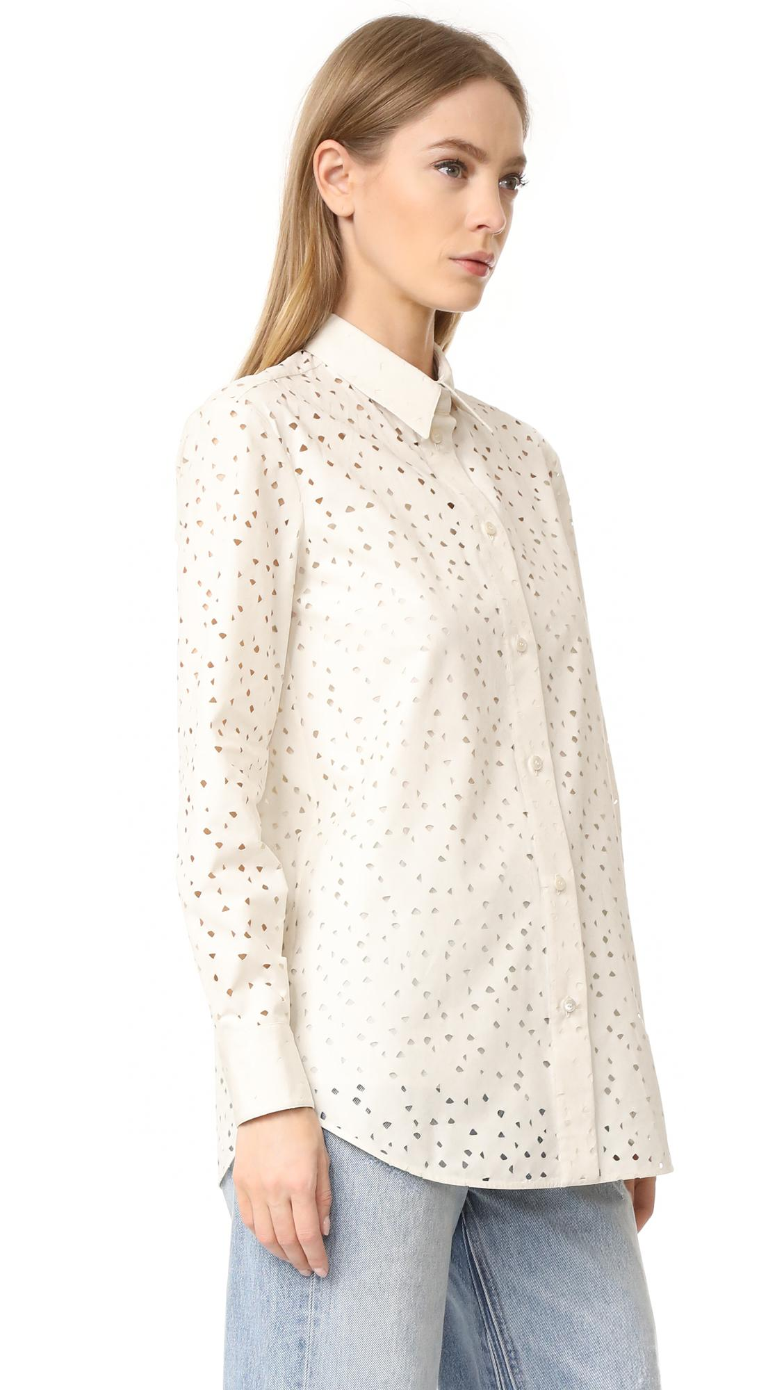 Ferragamo Embroidered Eyelet Blouse In White Lyst