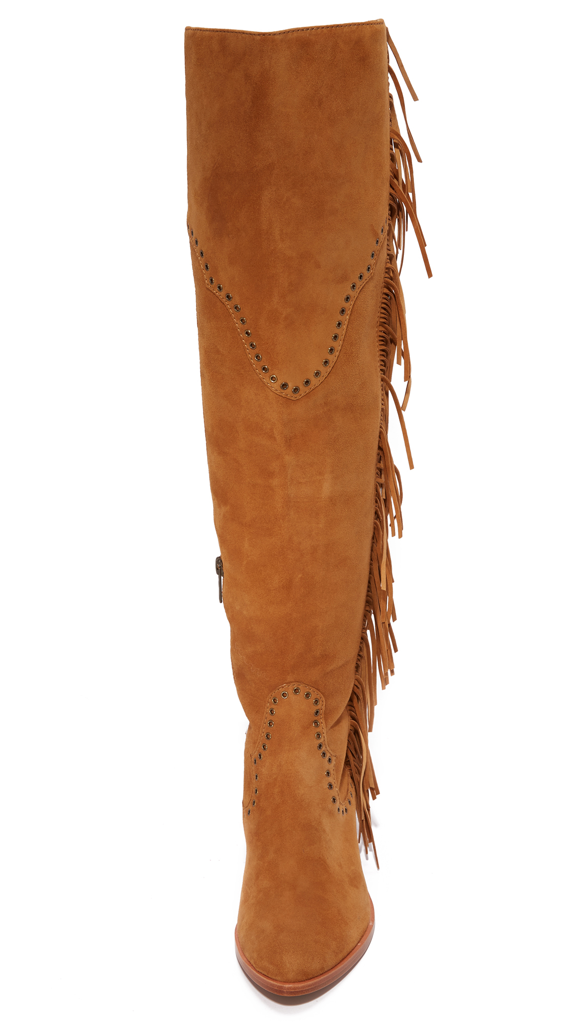 Frye Suede Ray Fringe Over The Knee Boots
