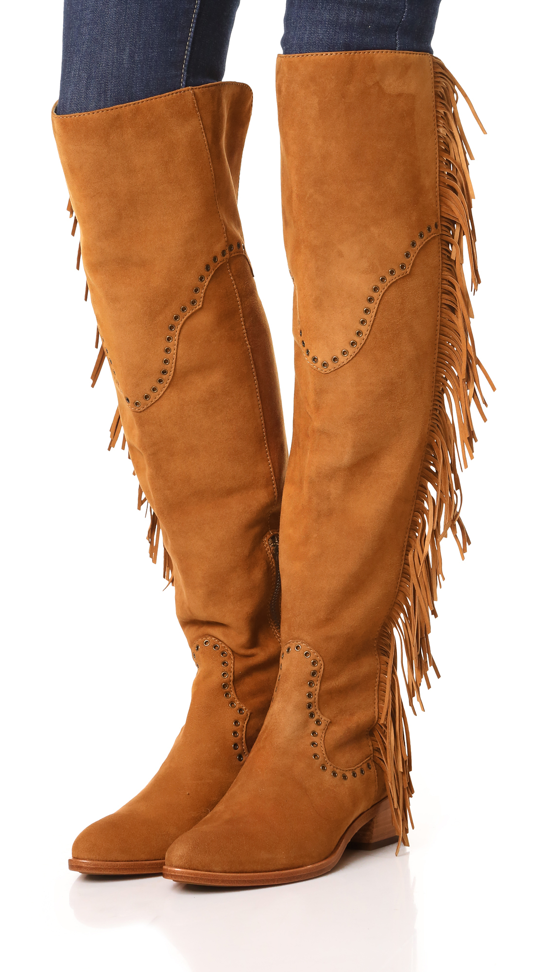 Frye Ray Fringe Over The Knee Boots Lyst