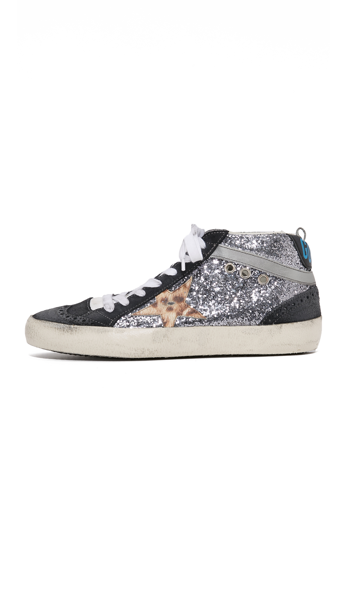 Golden Goose Deluxe Brand Leather Mid Star Glitter Sneakers
