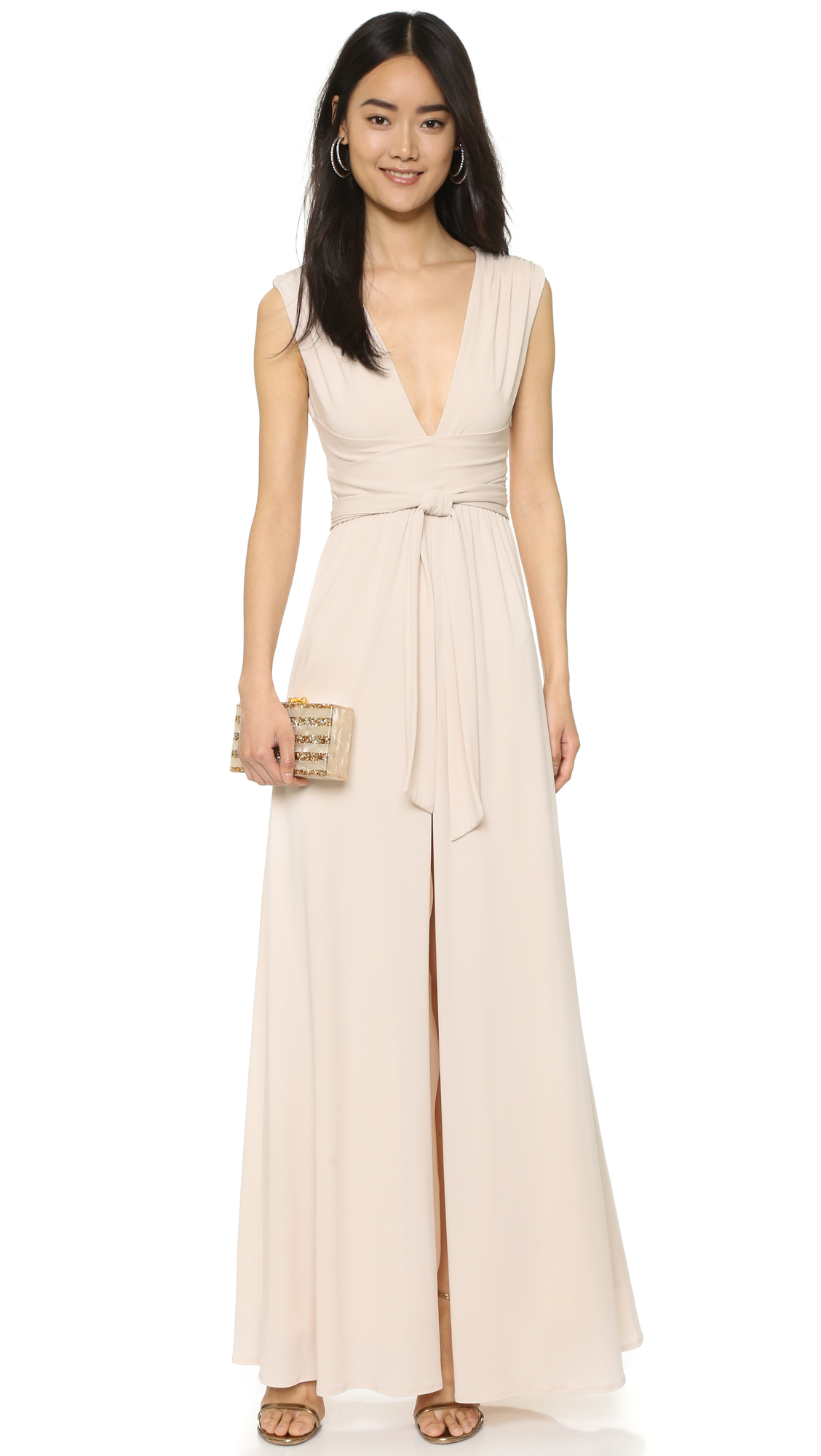 Lyst halston v neck jersey gown with wrap tie for Halston heritage shirt dress
