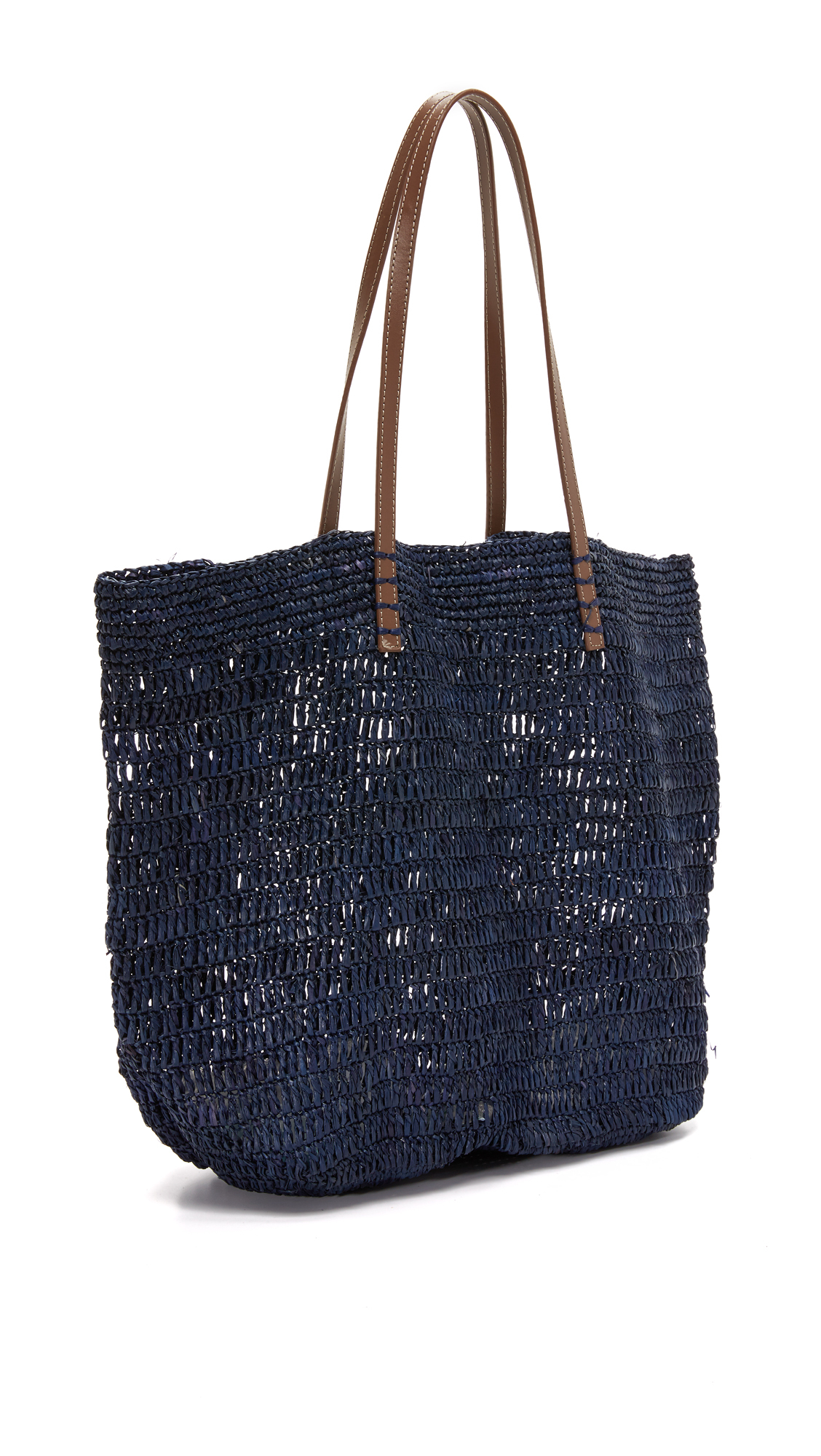 Hat Attack Leather Ibiza Tote in Navy (Blue)