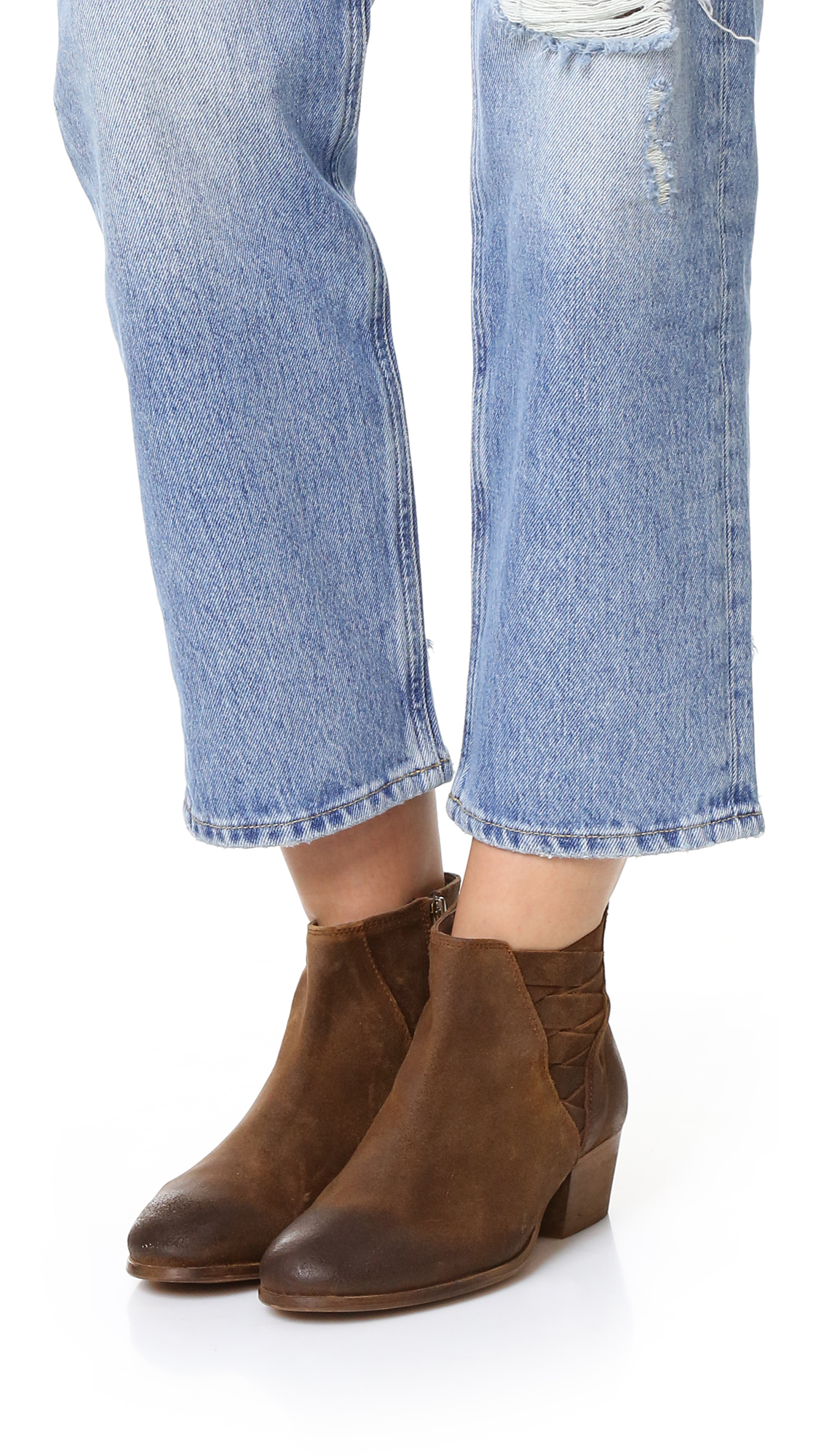 H by Hudson Suede Ankti Booties in Tobacco (Brown)