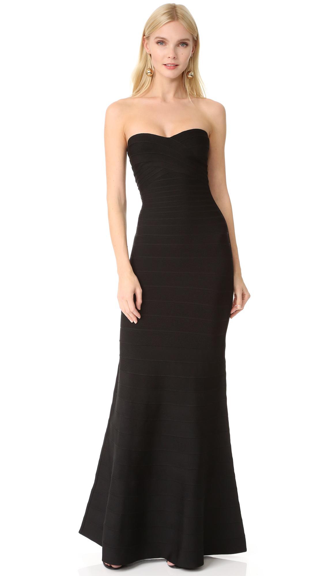 Lyst - Hervé Léger Strapless Gown in Black