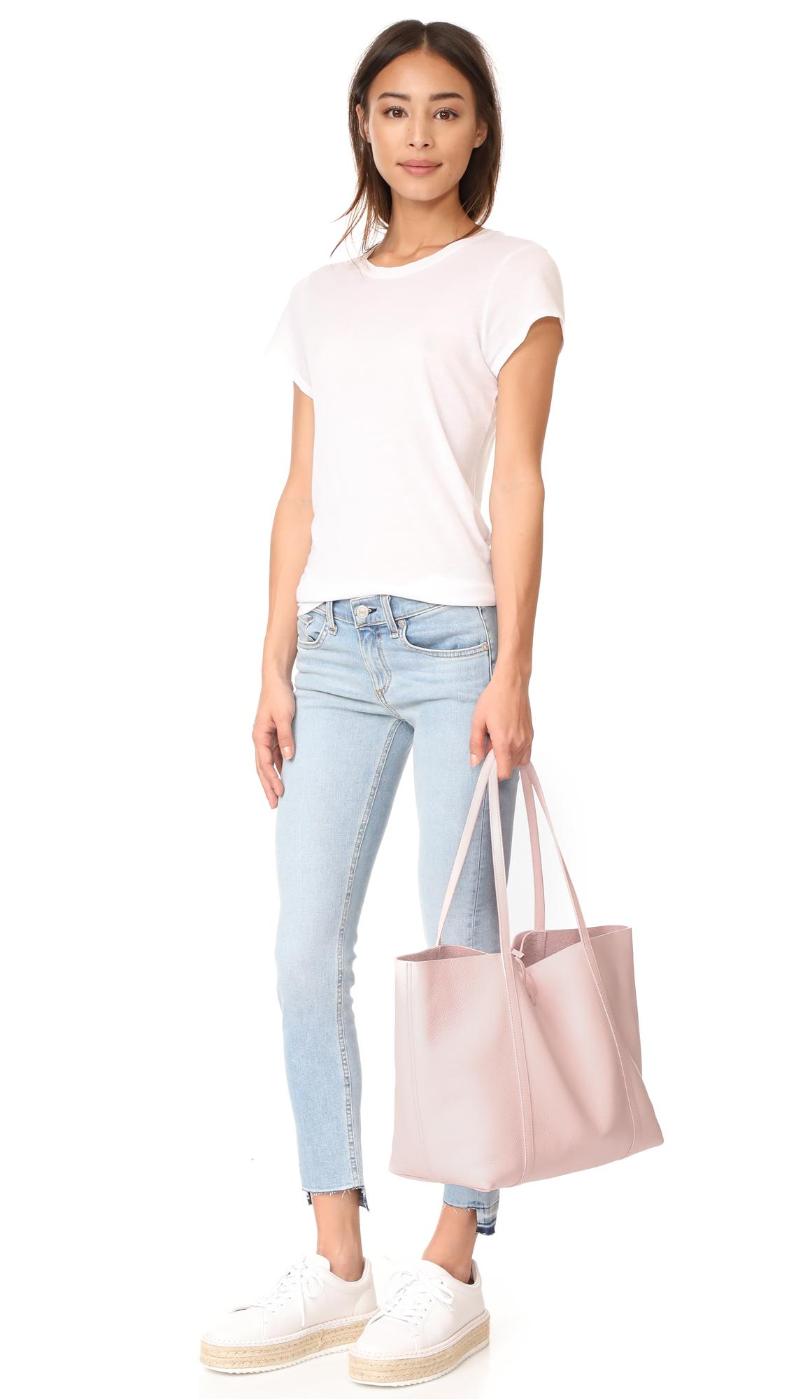 Kara Leather Tie Tote in Blush Pink (Pink)