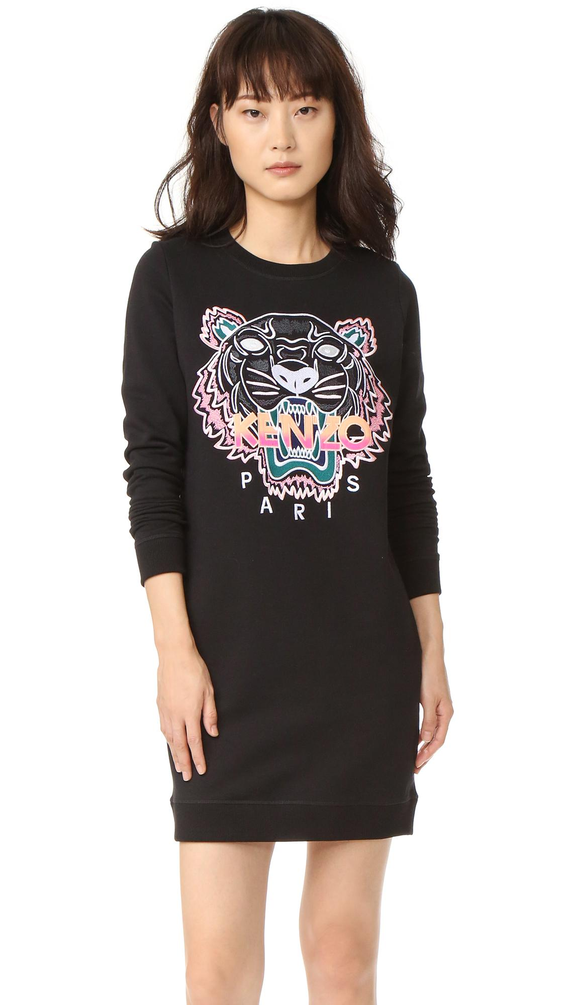 Lyst Kenzo Embroidered Tiger Sweatshirt Dress In Black