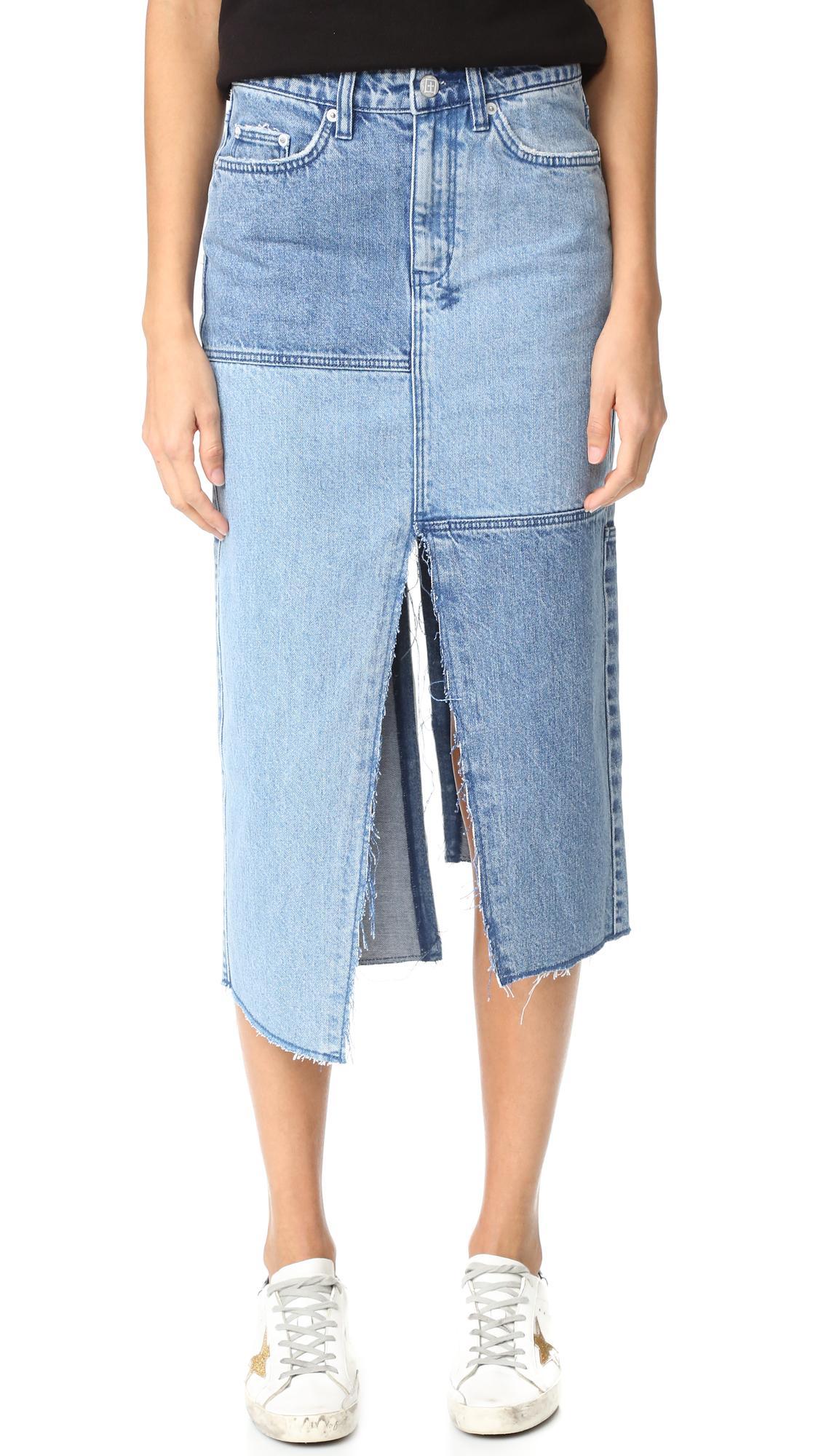 ksubi pip midi skirt in blue lyst