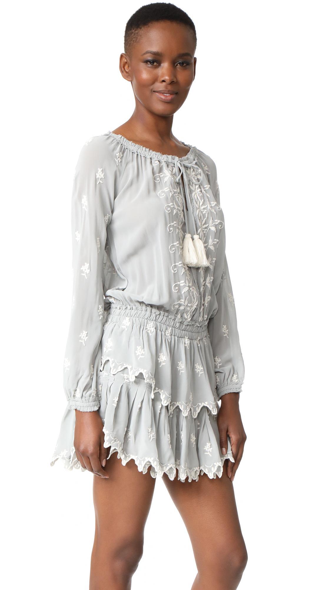 Loveshackfancy Silk Popover Ruffle Dress Lyst