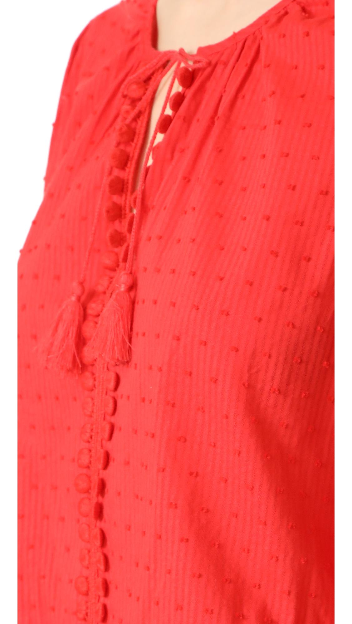 Lyst Madewell Pom Pom Tie Front Top In Red