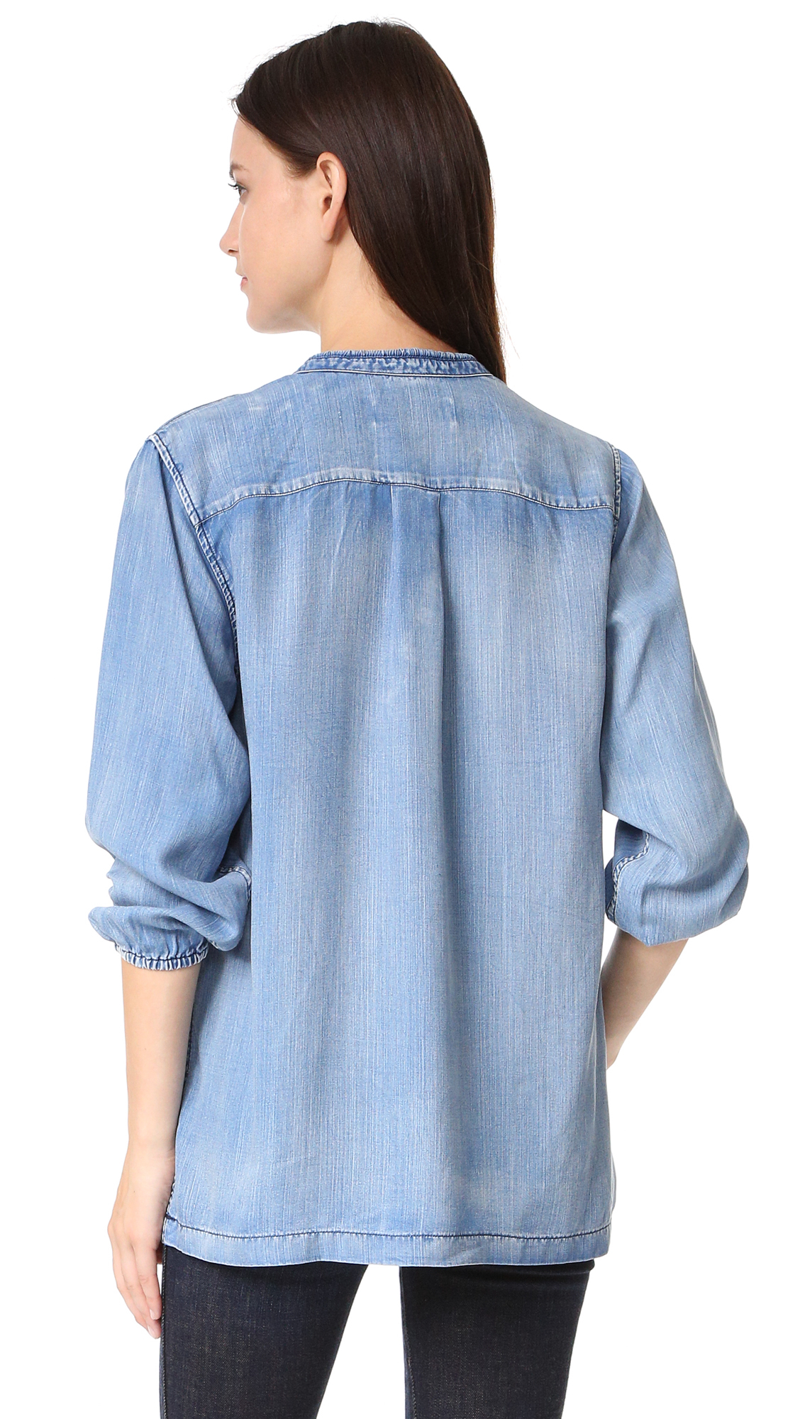 Lyst scotch soda chambray top with lace closure for Chambray top