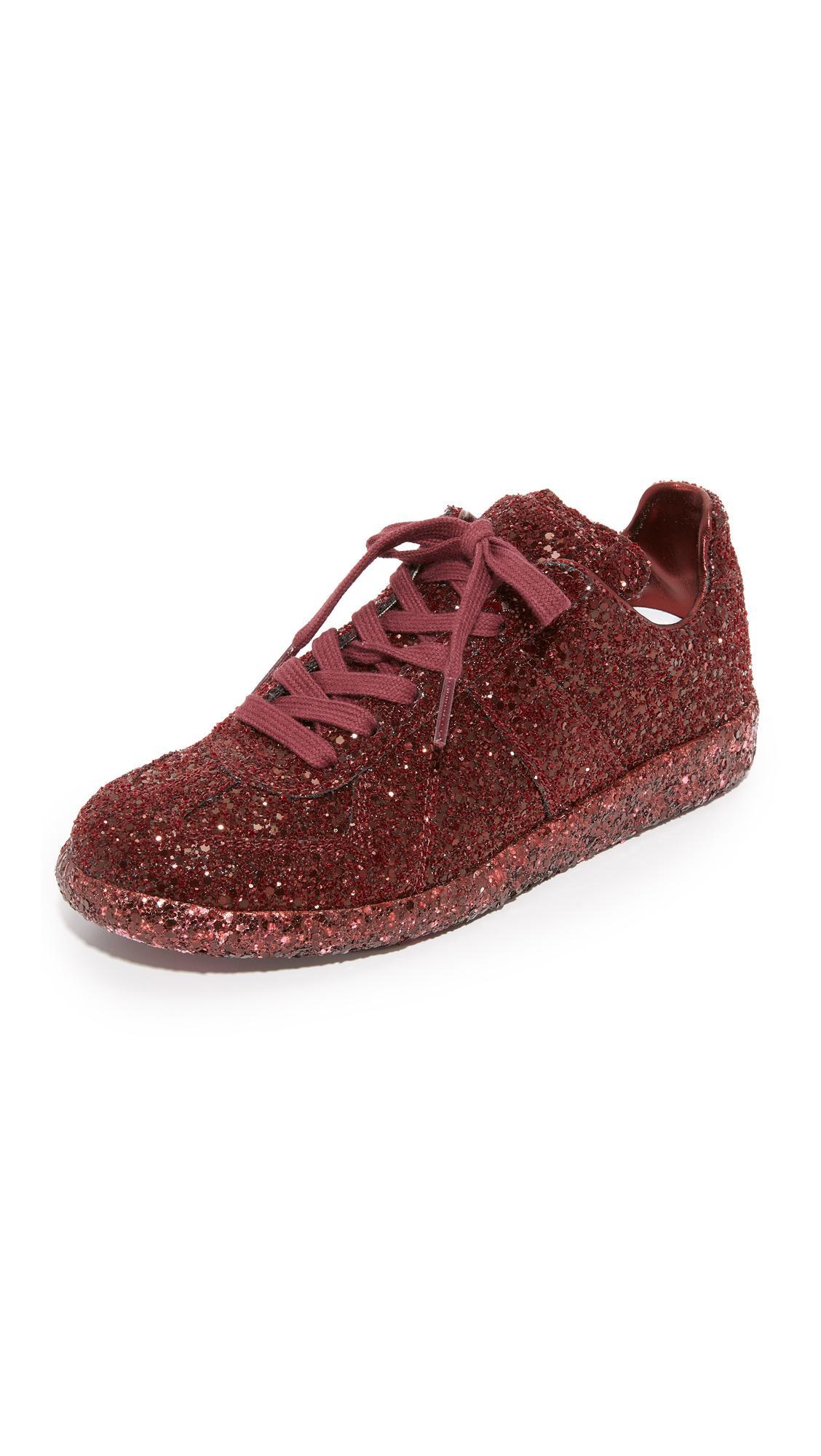 Lyst - Maison Margiela Glitter Sneakers in Red