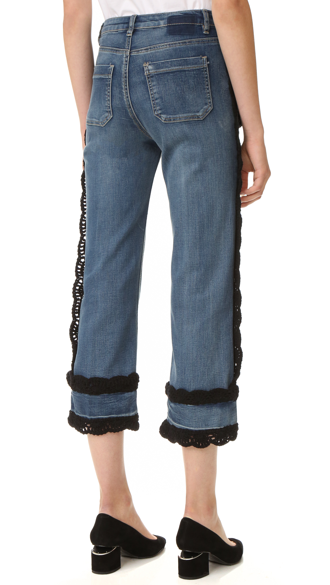 Michaela Buerger Denim Crochet Crop Jeans in Denim (Blue)