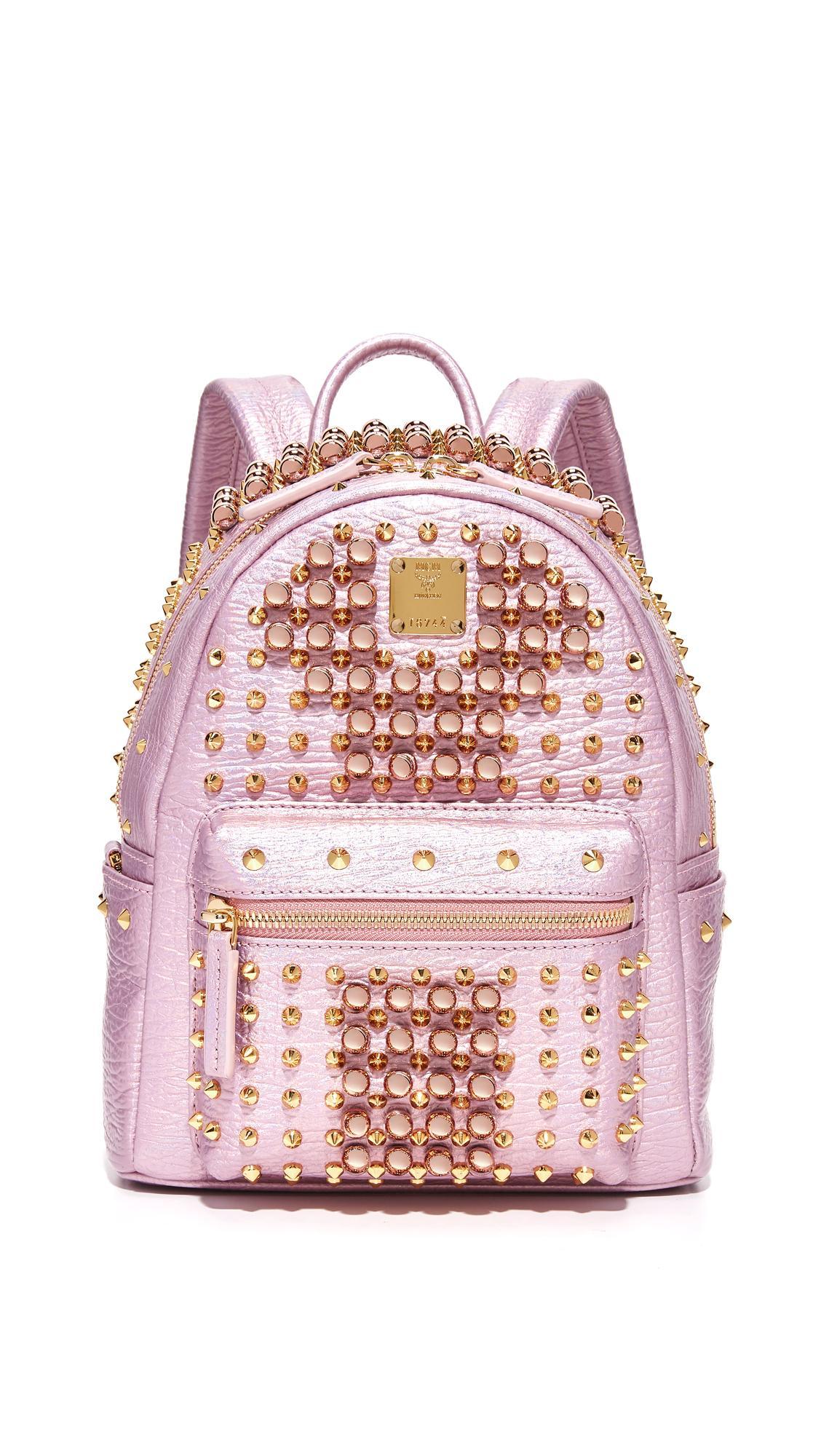 4dda04d61be Lyst - MCM Stark Pearl Stud Backpack in Pink
