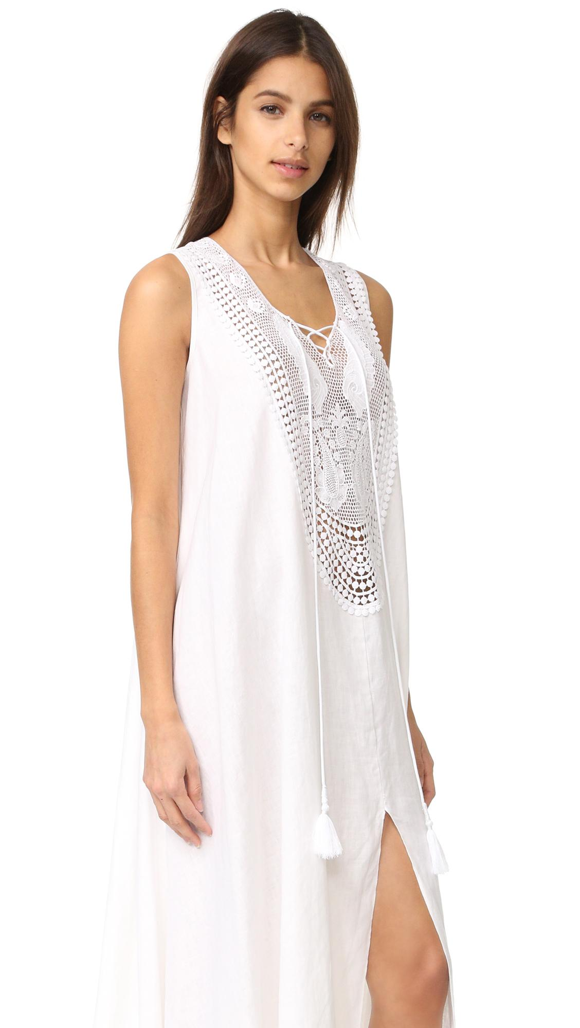 Miguelina Lana Linen Maxi Dress In White Lyst