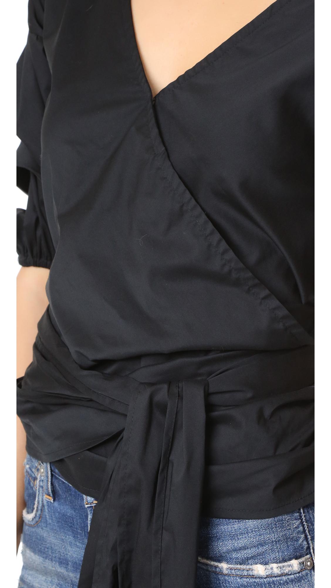 MLM Label Cotton Salo Wrap Shirt in Black
