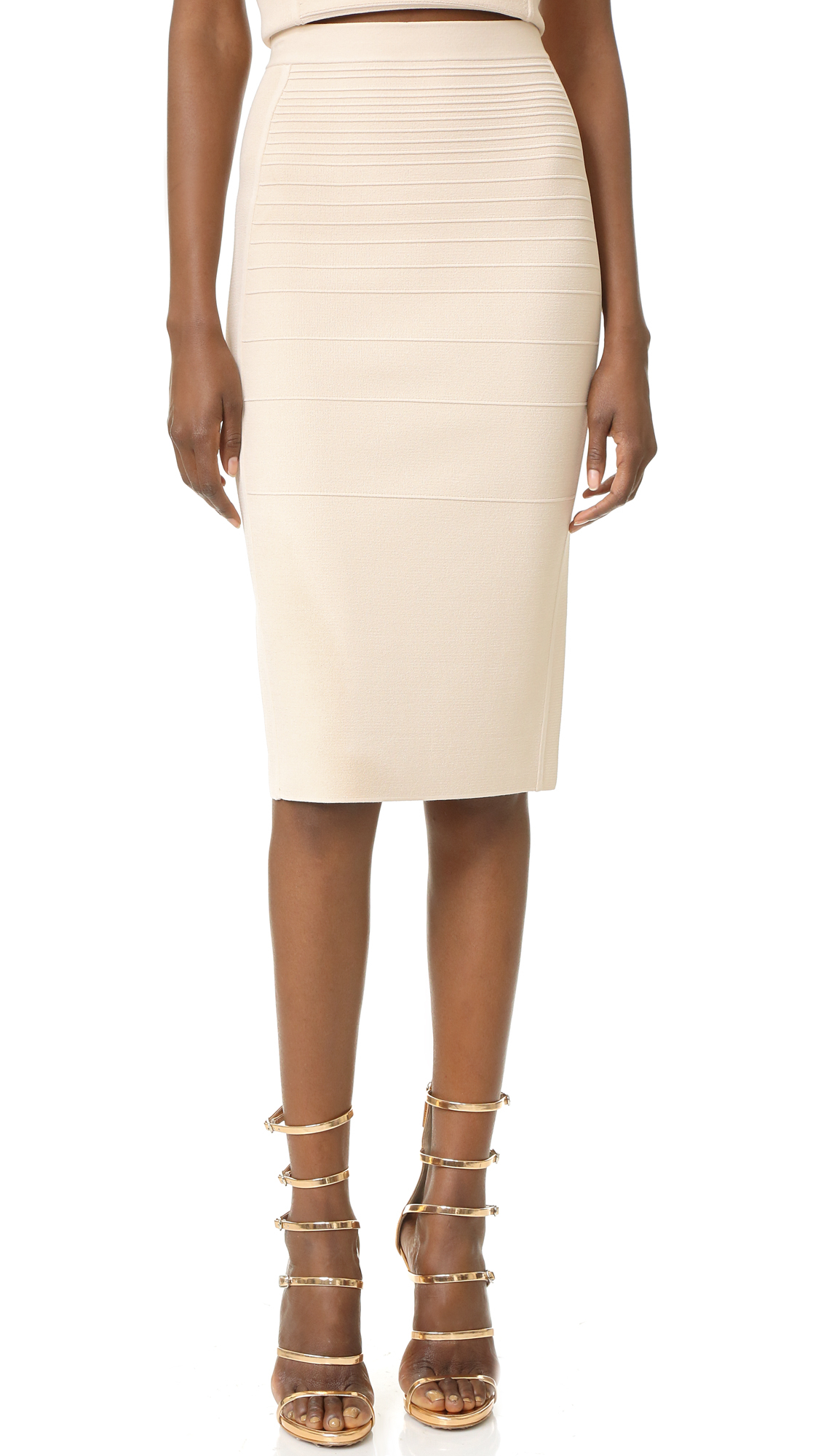 Narciso rodriguez Knit Pencil Skirt in White | Lyst