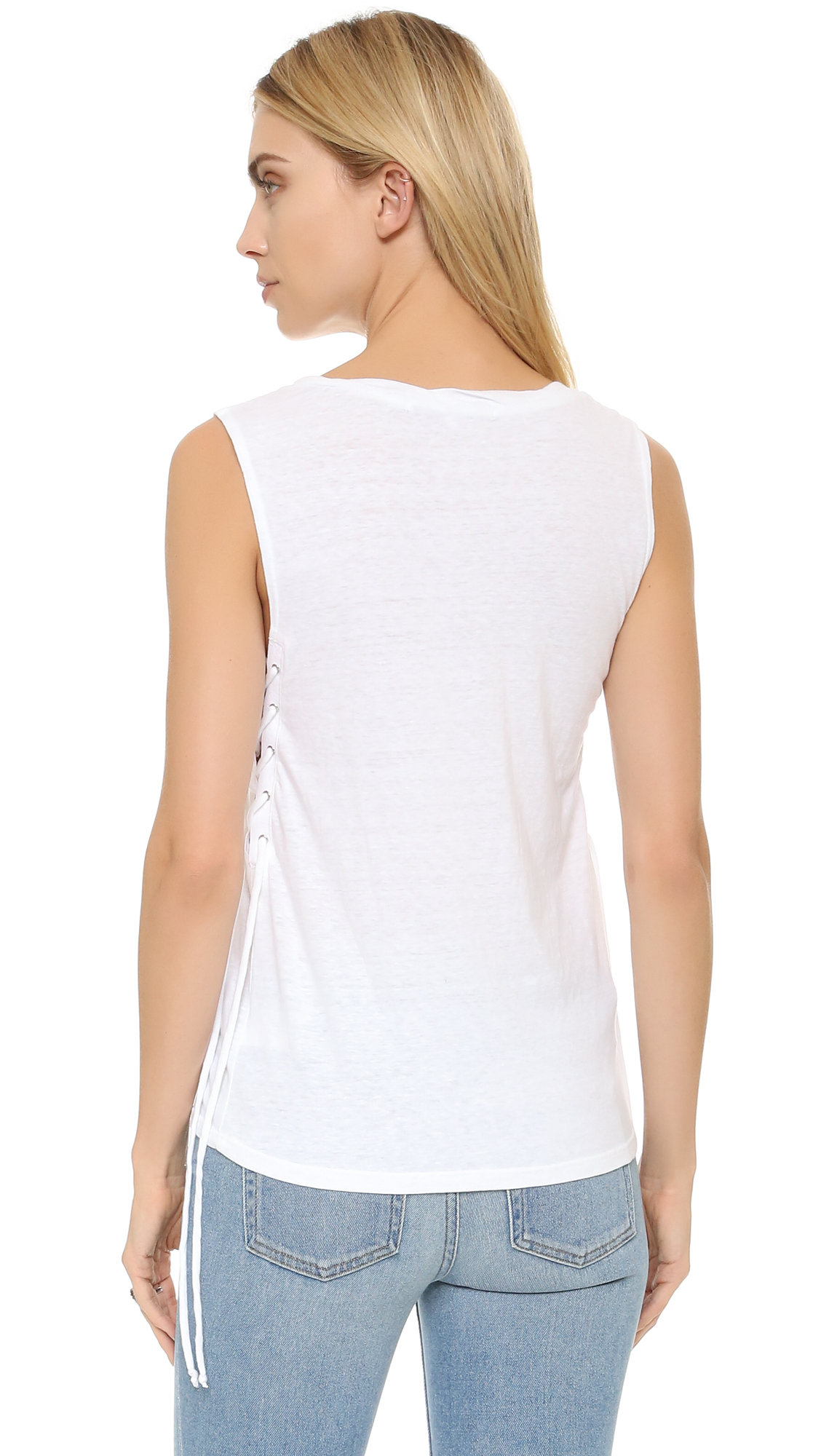 Lyst Pam Amp Gela Side Lace Up Tank In White