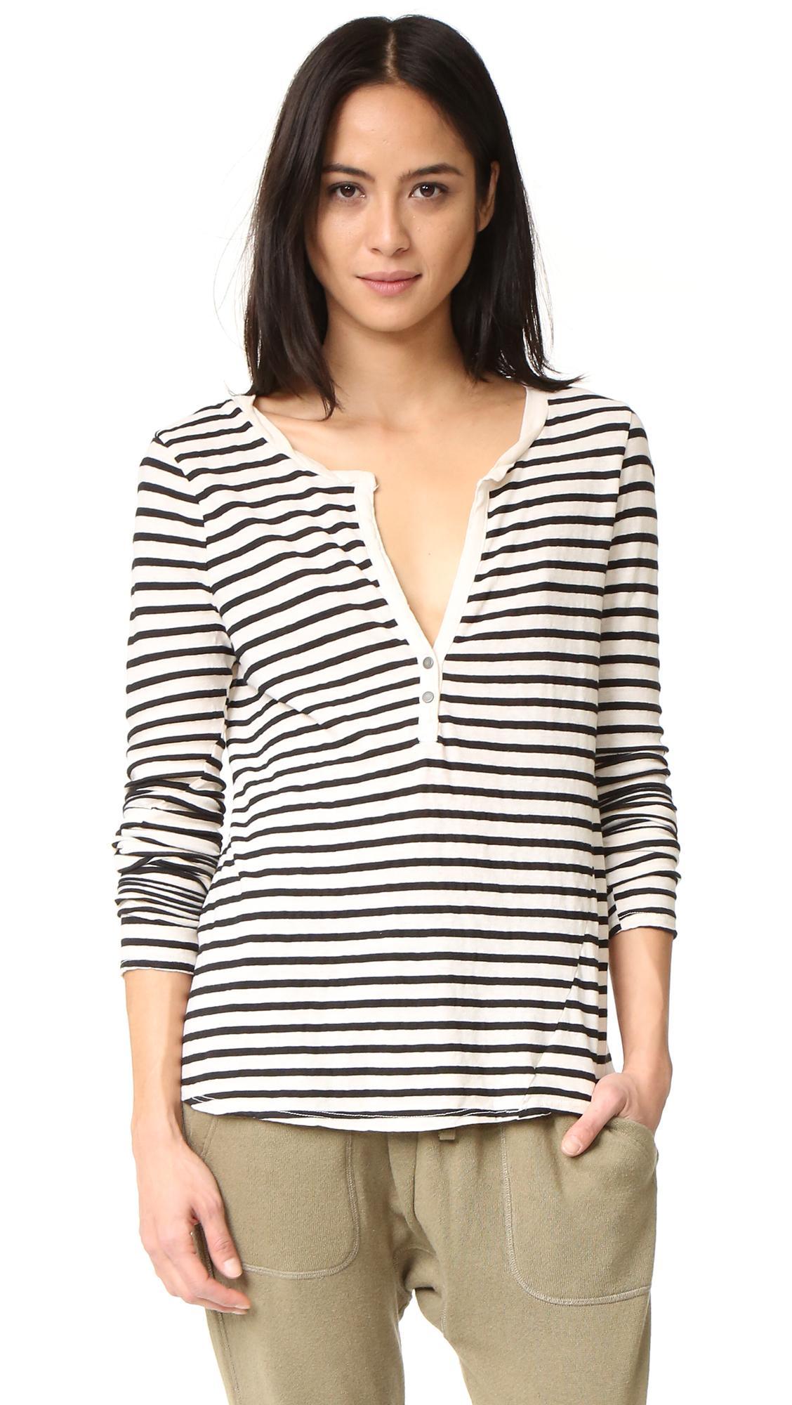 Pam gela long sleeve stripe henley tee in black lyst for Black long sleeve henley shirt