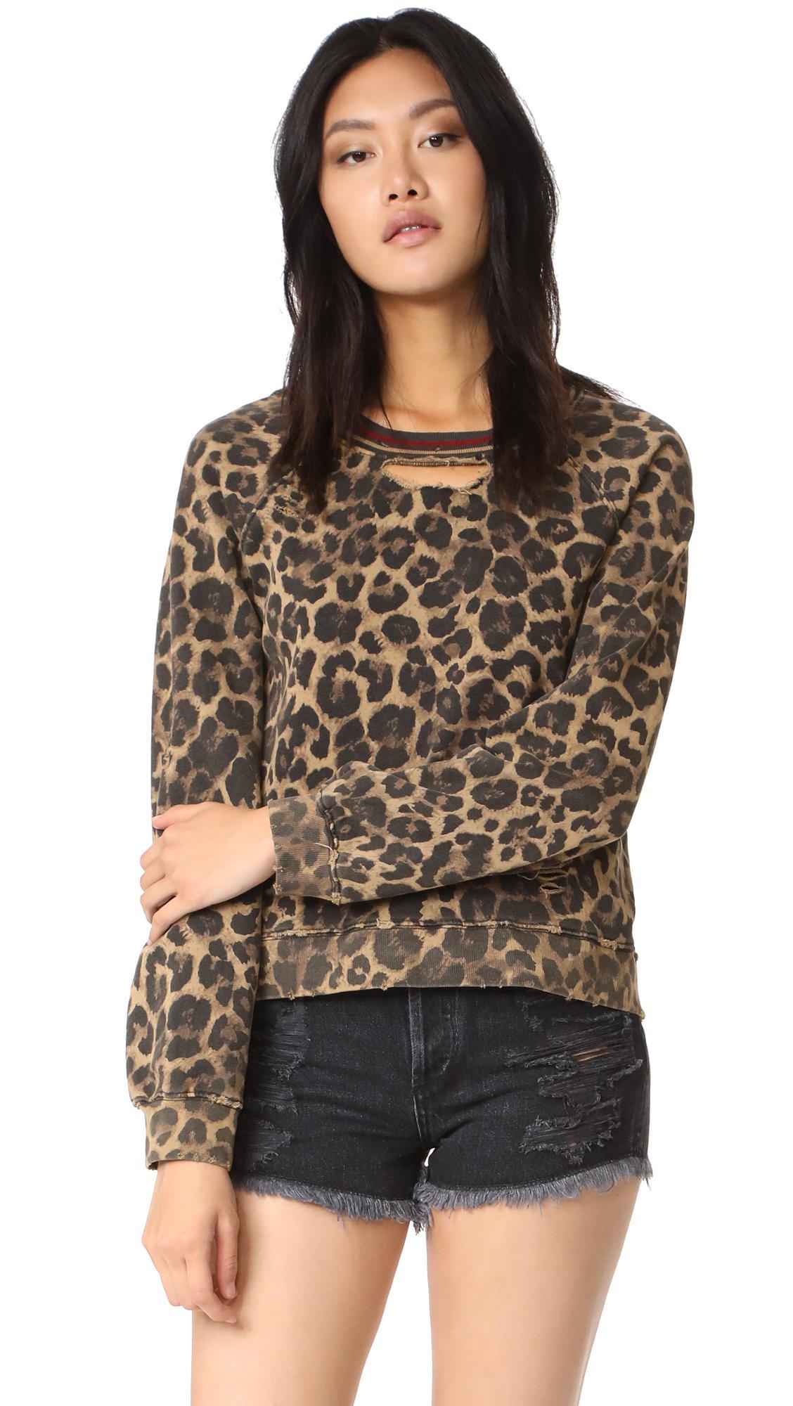 Lyst Pam Amp Gela Leopard Print Sweatshirt In Brown