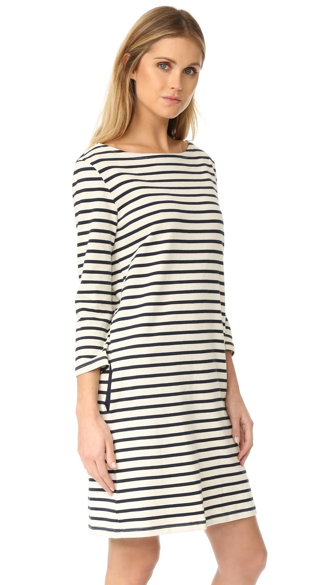 Petit bateau hannah long sleeve striped dress lyst for Petit bateau striped shirt