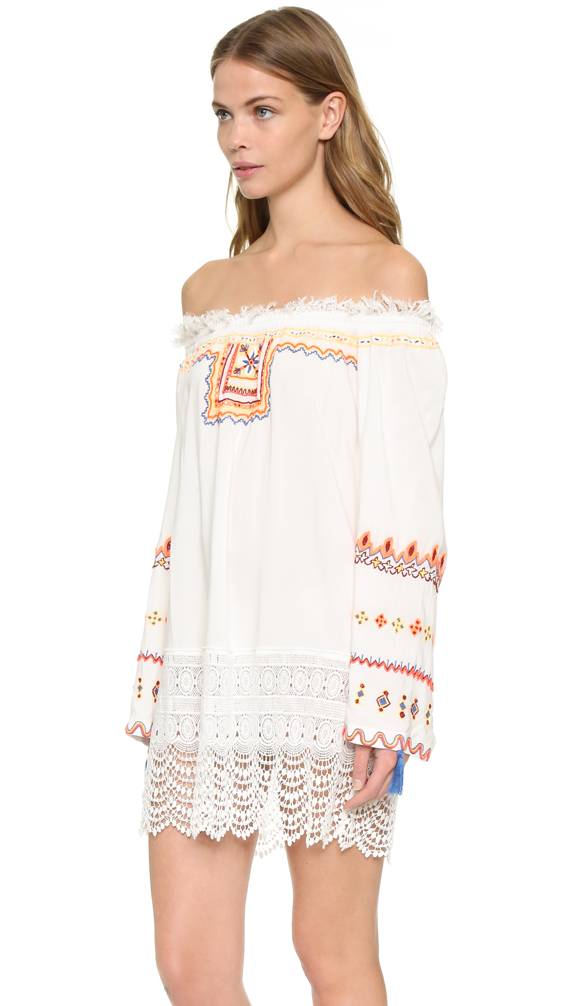 Pia pauro embroidered beach dress in white lyst