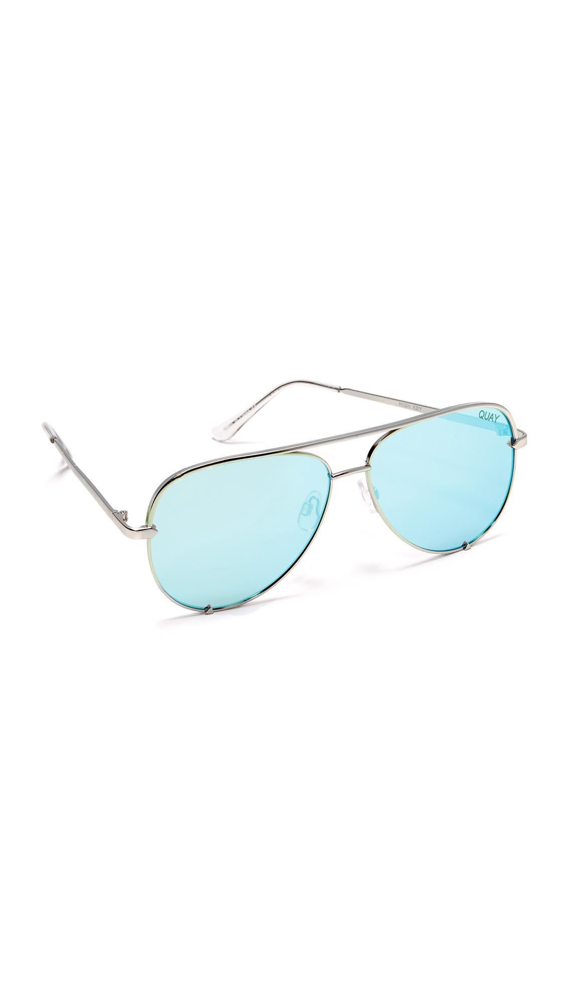 Quay X Desi Perkins High Key Sunglasses In Blue Lyst