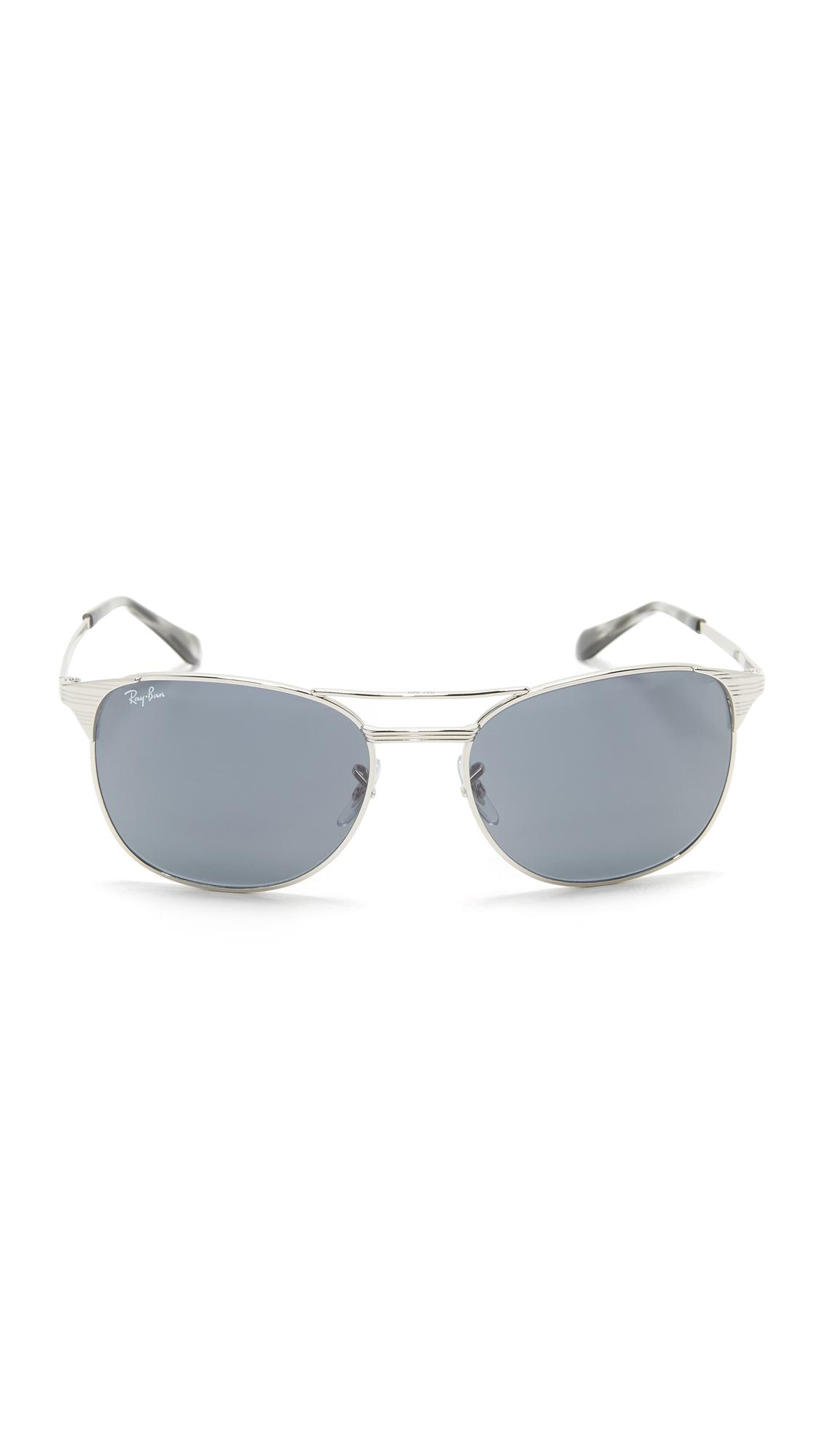 Ray-Ban Etched Retro Aviator Sunglasses in Shiny Silver/Blue (Blue)