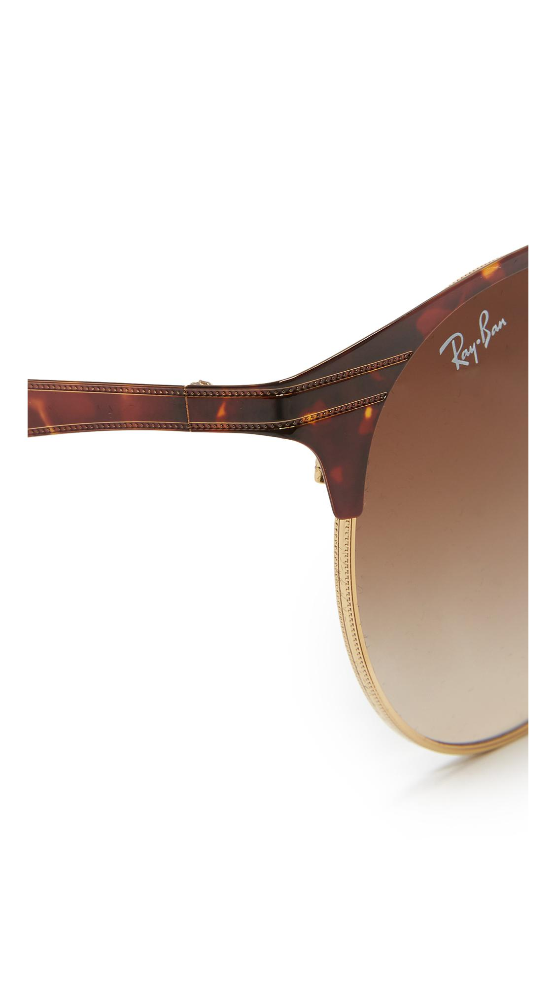 Lyst Ray Ban Etched Retro Round Aviator Sunglasses In Brown
