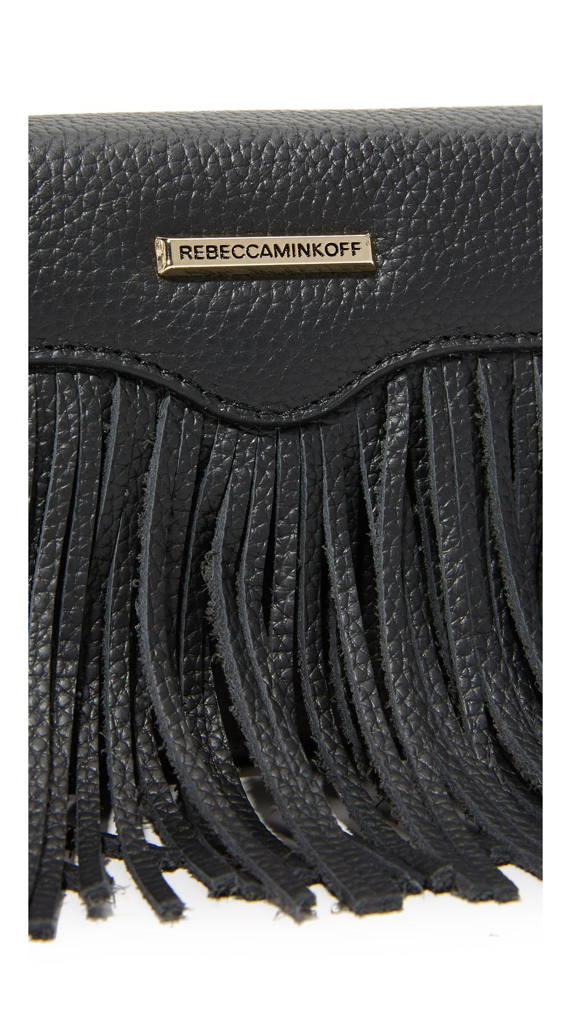 Rebecca Minkoff Leather Fringe Tech Cross Body Bag in Black