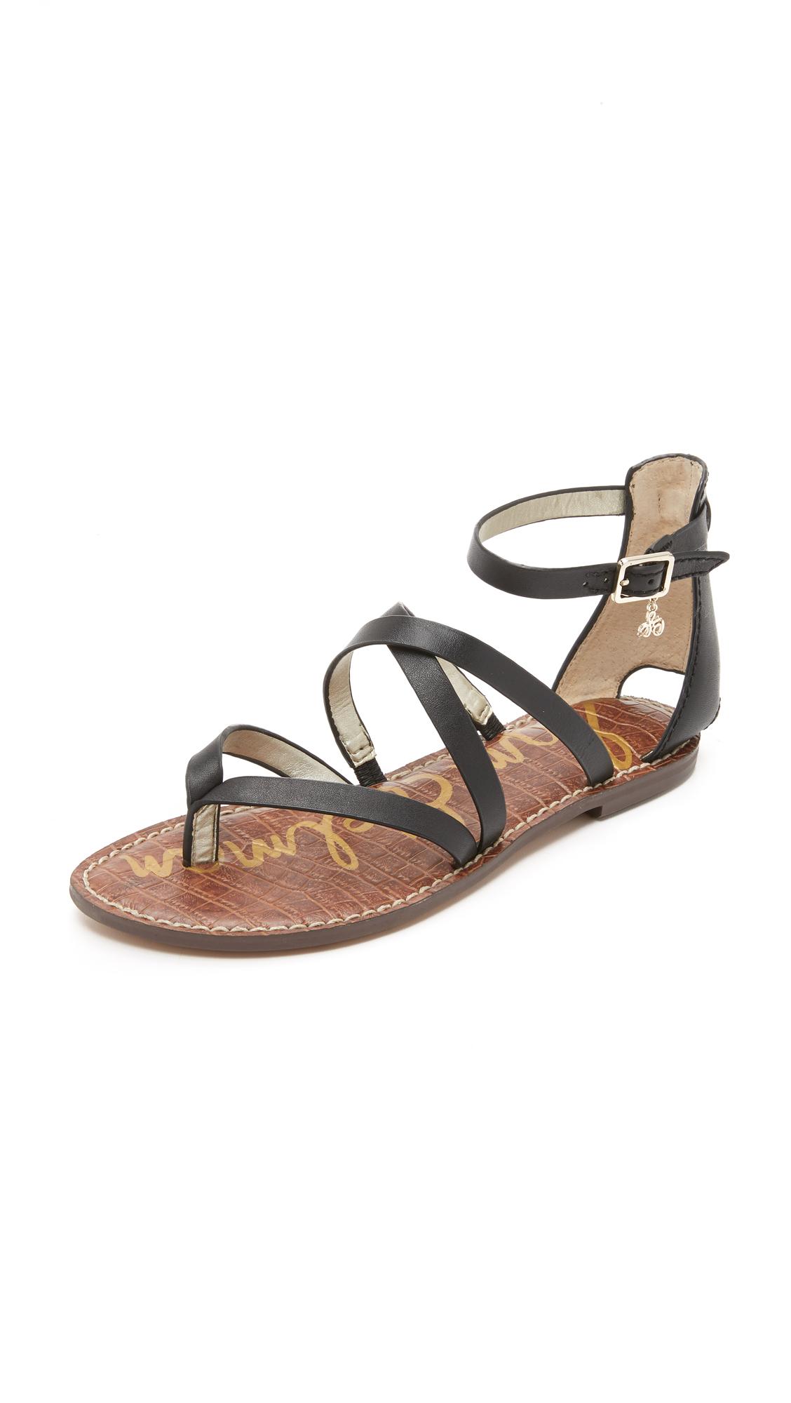 Sam Edelman Gilroy Flat Sandals In Black Lyst