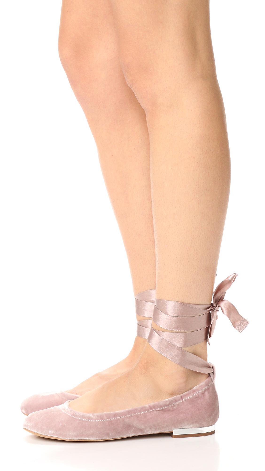 b762d3f58 Lyst - Sam Edelman Velvet Fallon Ballet Flats in Pink