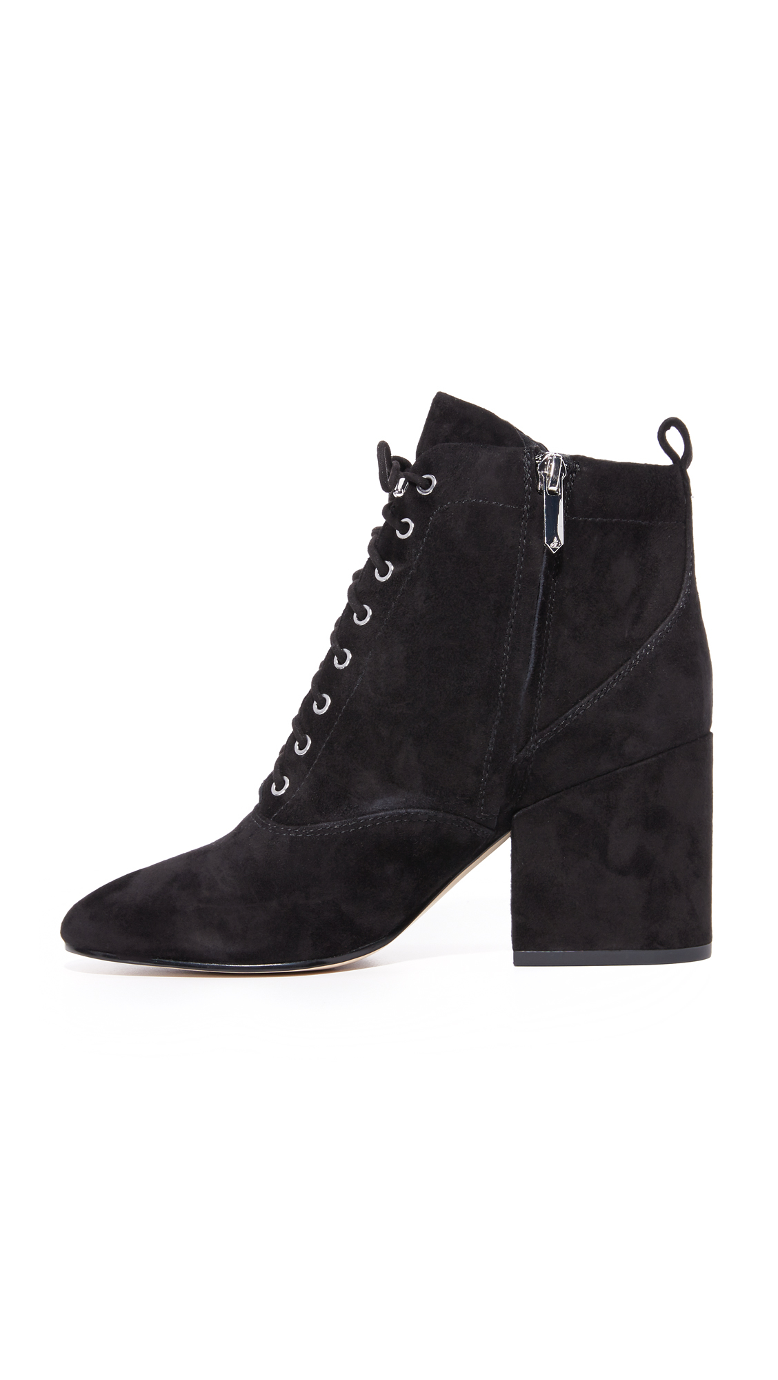 Sam Edelman Suede Tate Lace Up Booties in Black