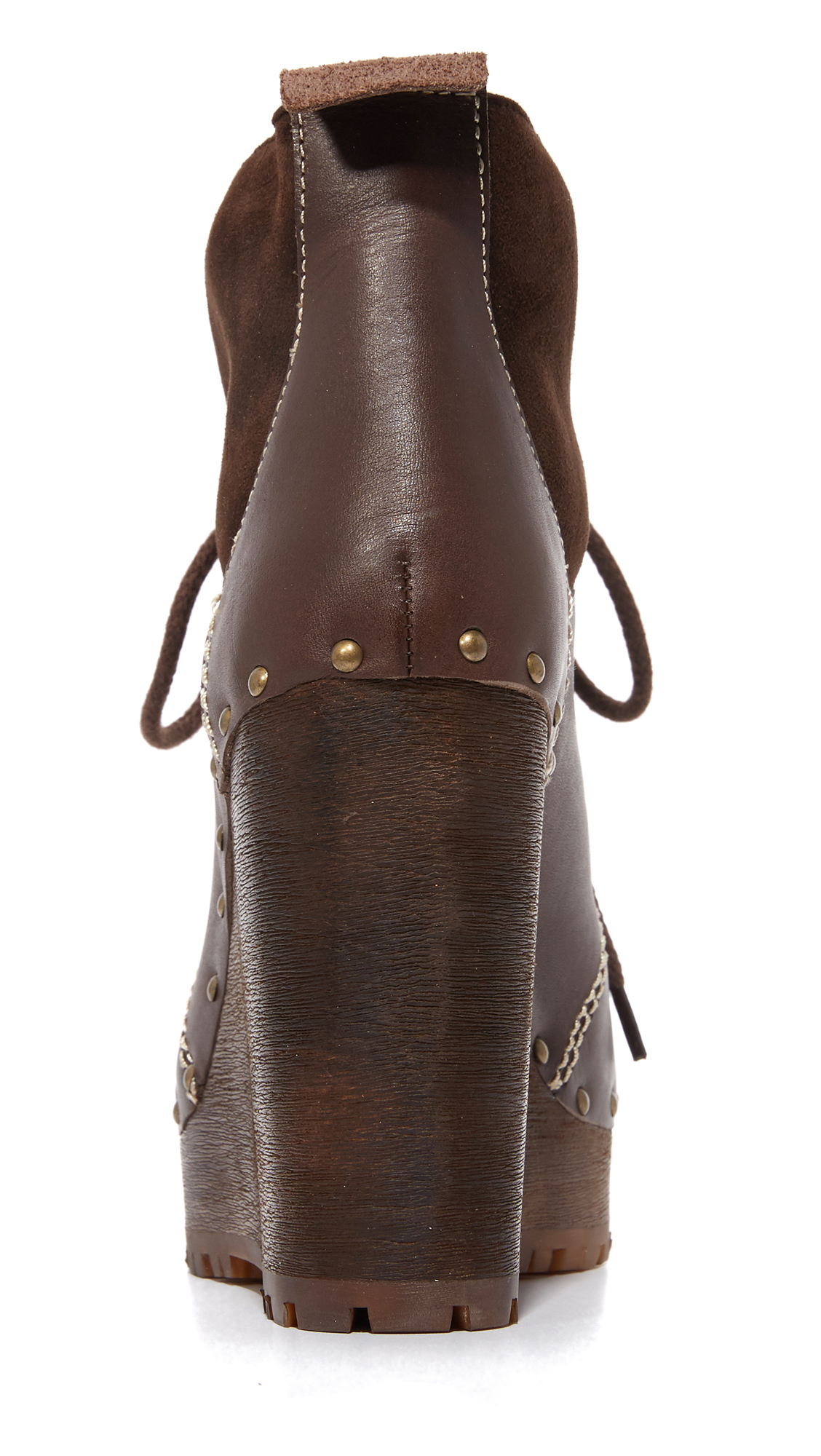 See By Chloé Leather Clive Platform Lace Up Booties